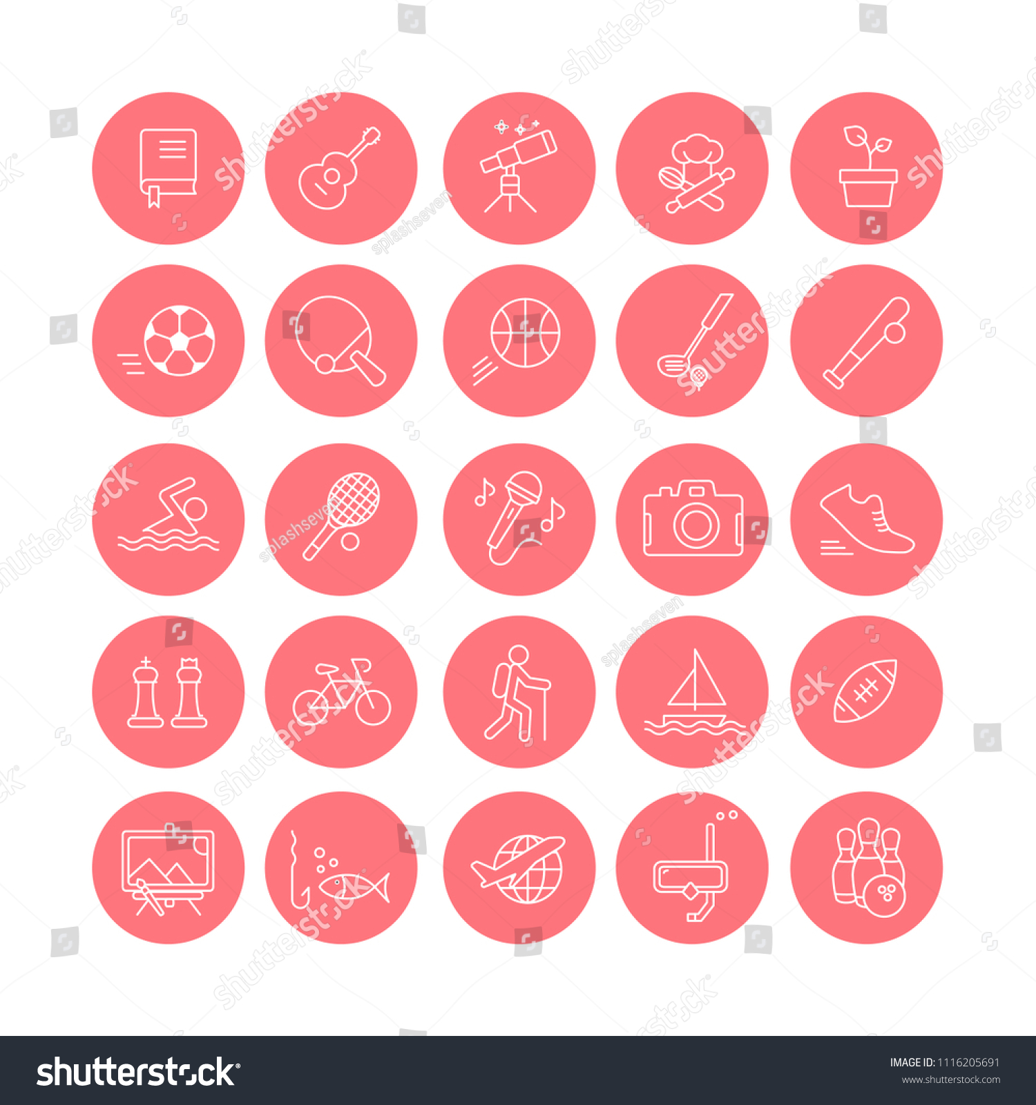 Set 25 Modern Colorful Flat Line Stock Vector Royalty Free