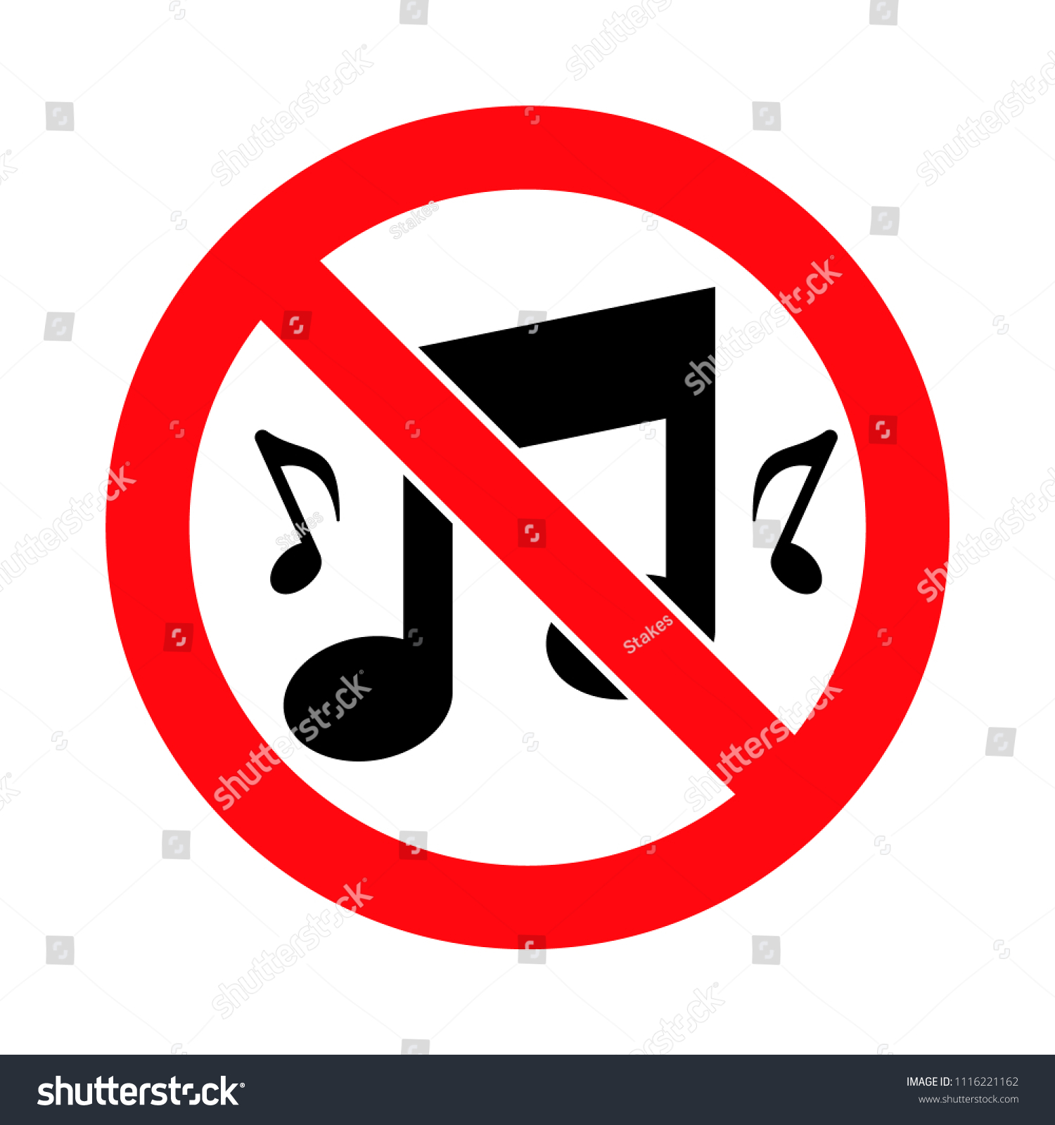 Music Forbidden Sign Loud Music Prohibited Stock Vector Royalty