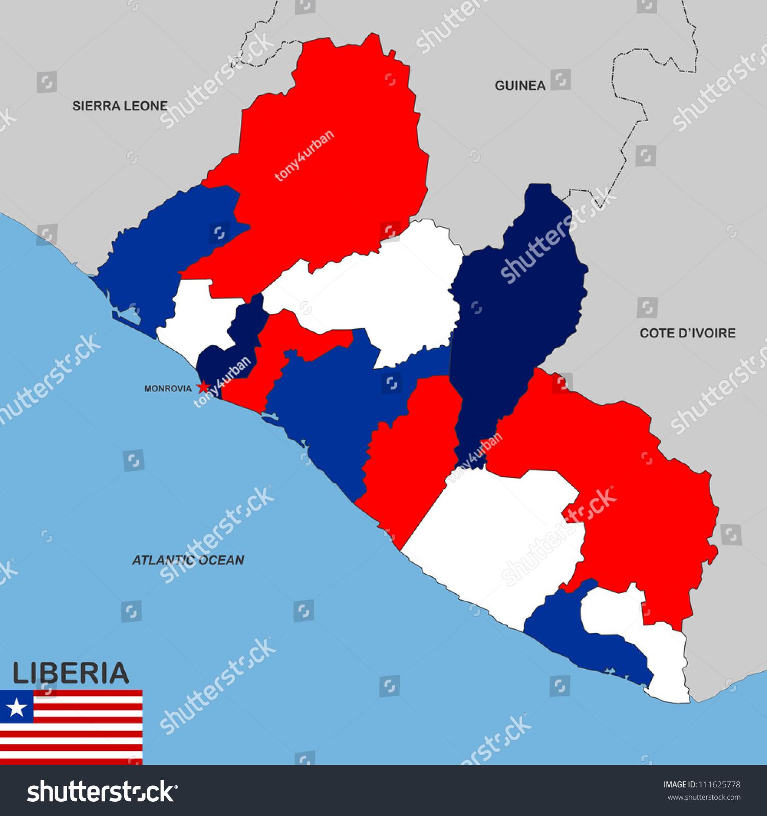 Very Big Size Liberia Political Map Stock Illustration 111625778
