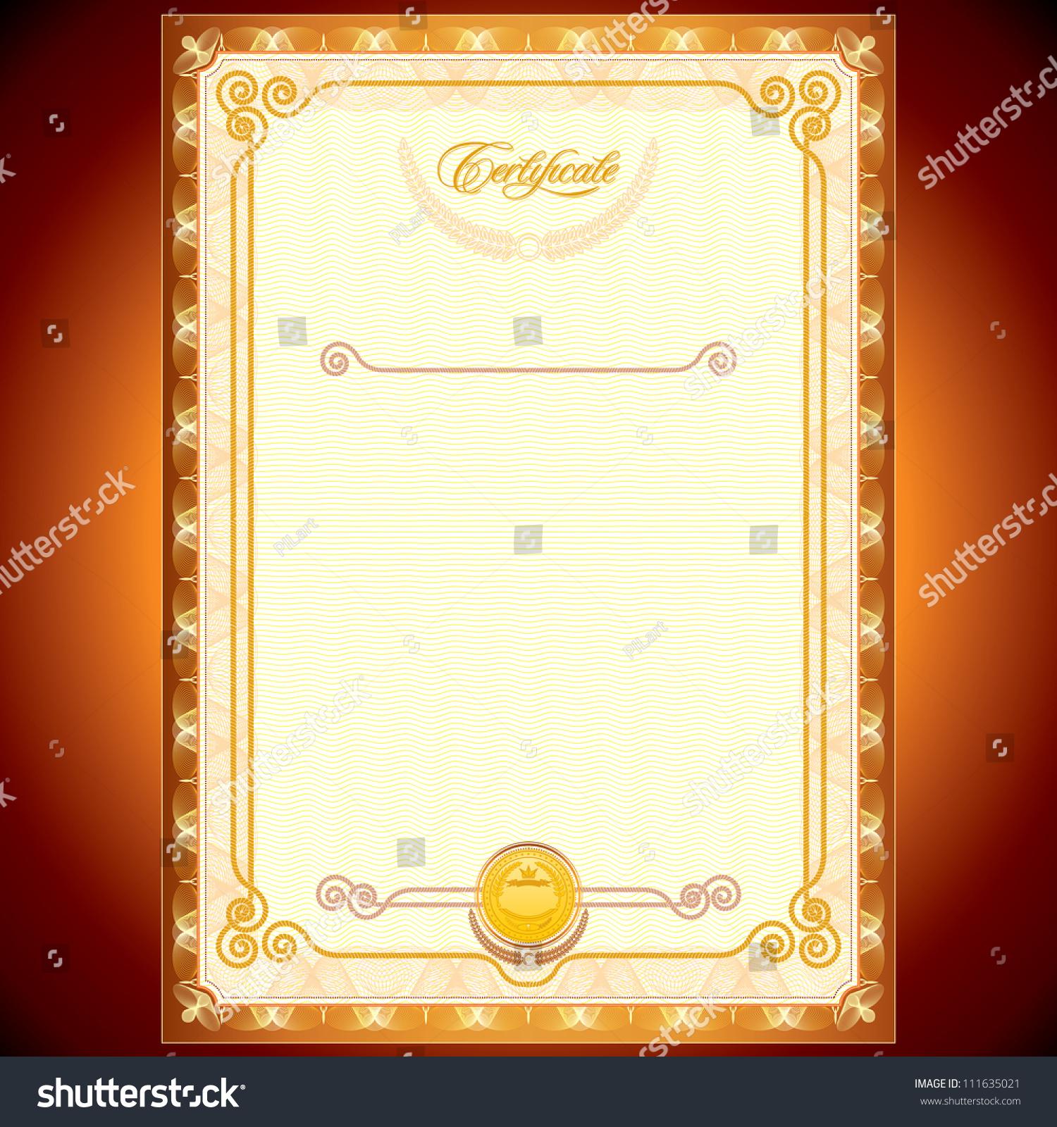 blank golden certificate  template or your design stock vector illustration 111635021   shutterstock