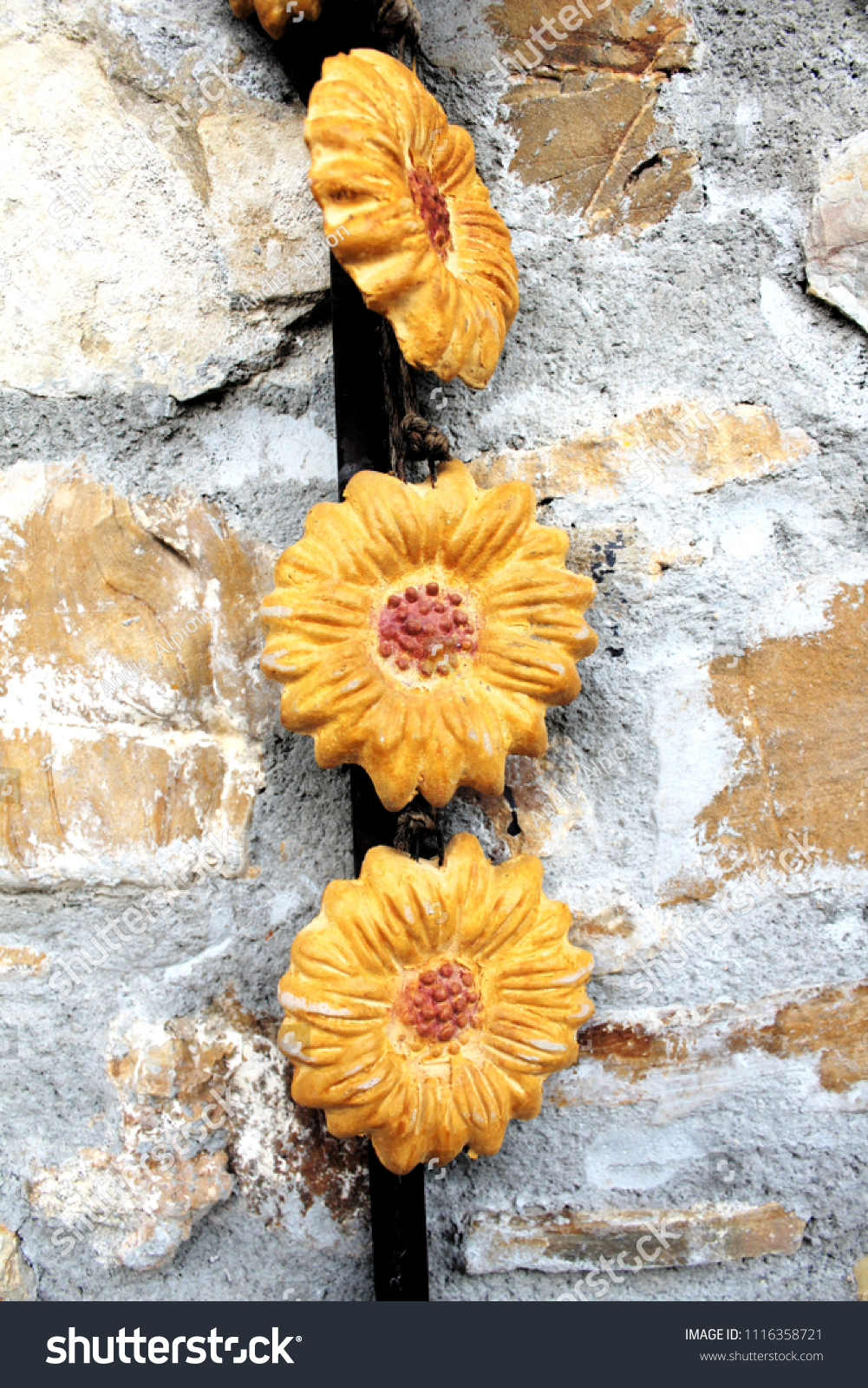 Sun Flowers Ceramic Outdoor Decoration Old Stock Photo (Royalty Free ...