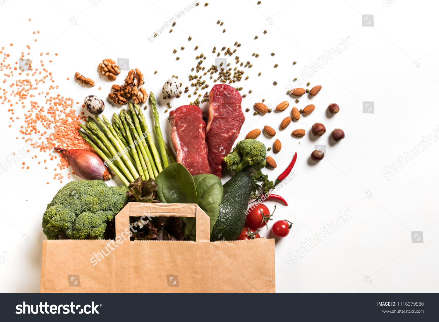 Paper Bag Full Of Green Vegetables And Fresh Beef Broccoli Onions Avocados