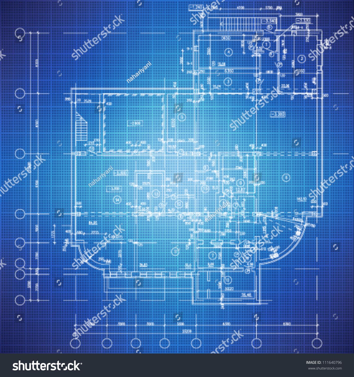 Urban Blueprint Vector Architectural Background Part Stock