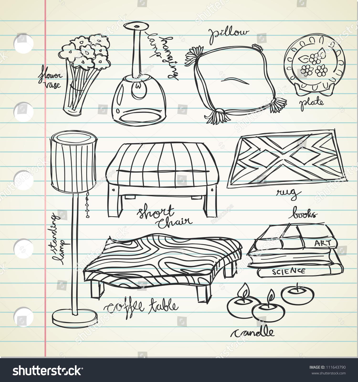 Living Room Stuff Stock Vector 111643790 - Shutterstock