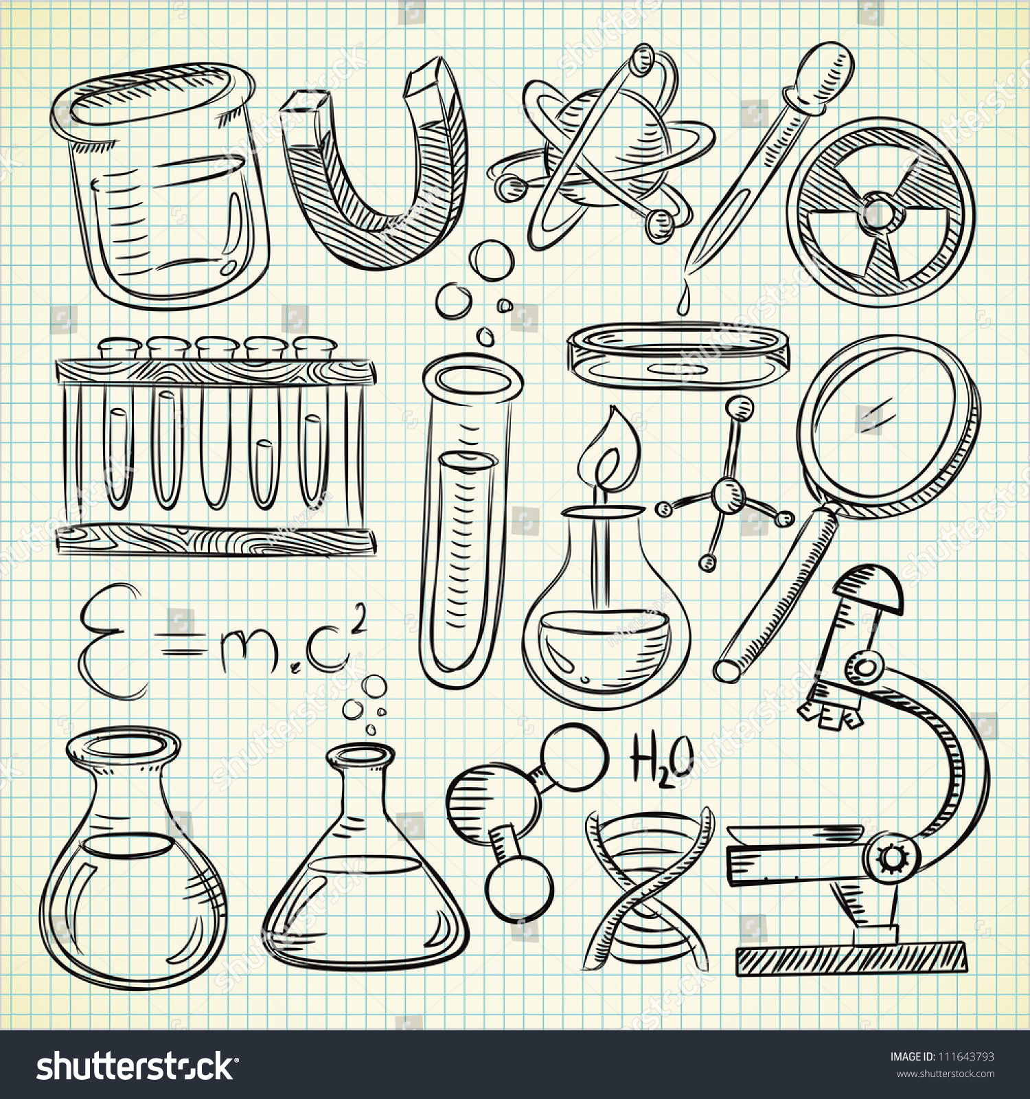royalty free set of science object in doodle style 111643793 stock