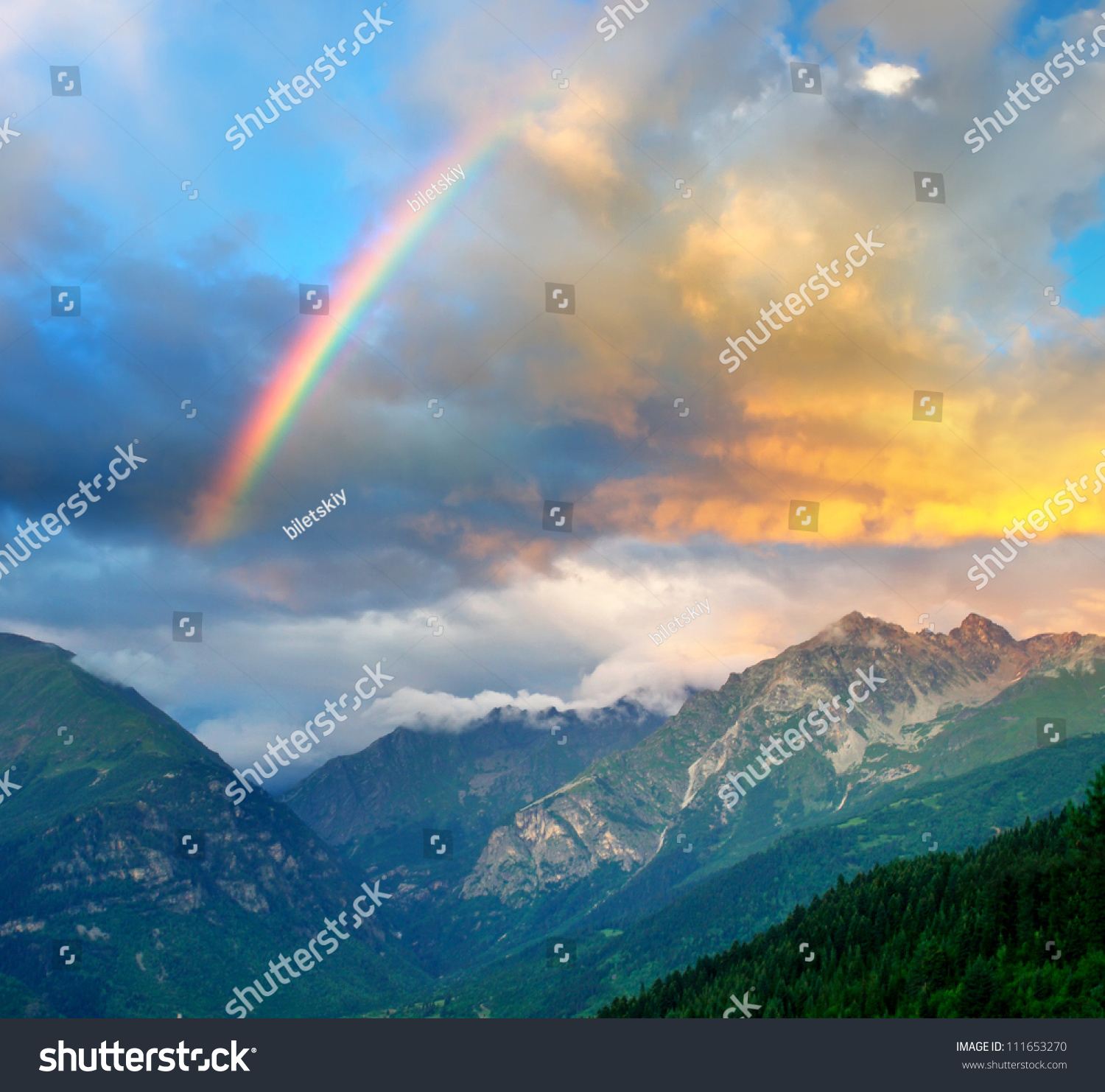 rainbow bright sky sunset mountain stock photo 111653270