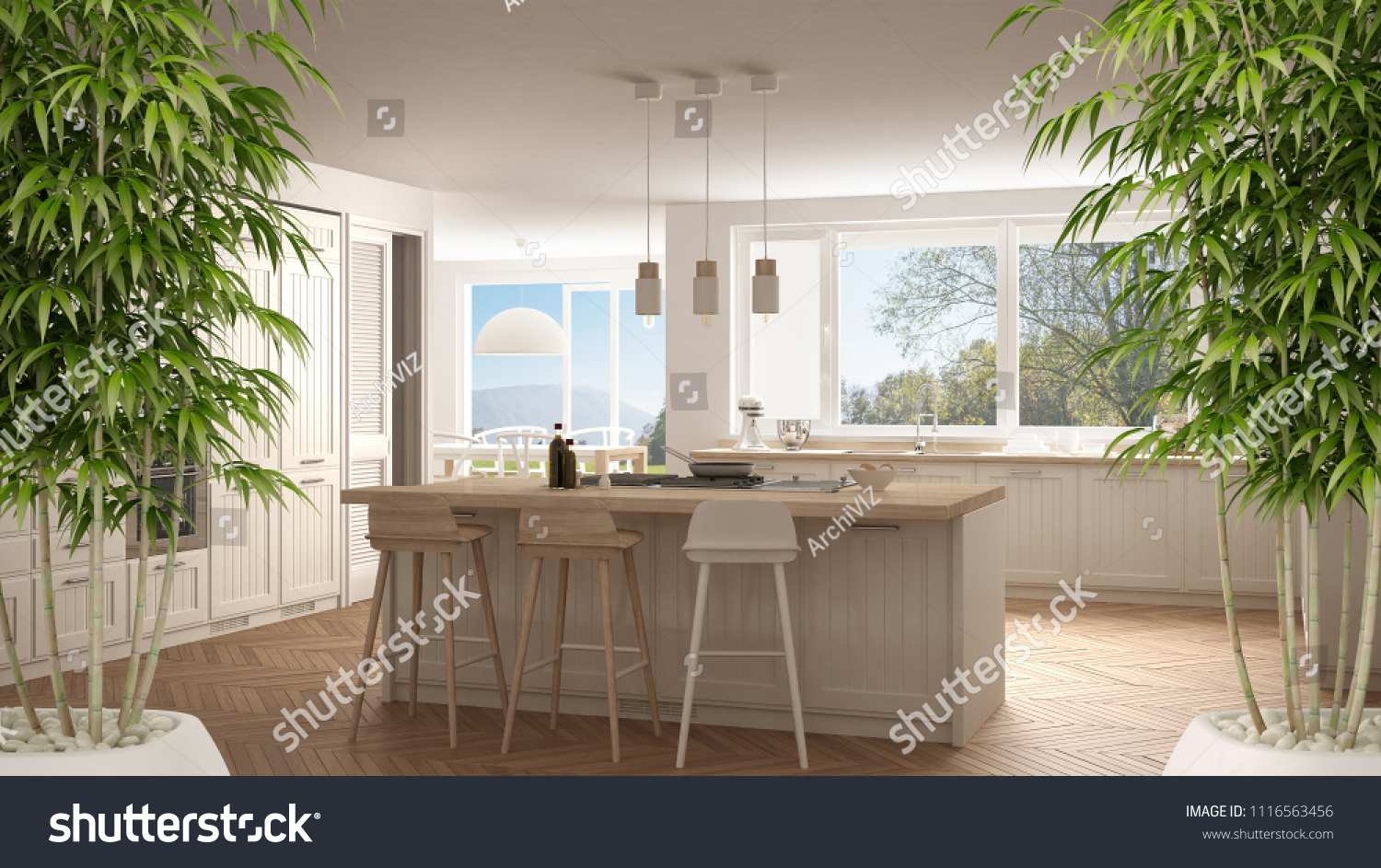 Zen Interior Potted Bamboo Plant Natural Stock Illustration ...
