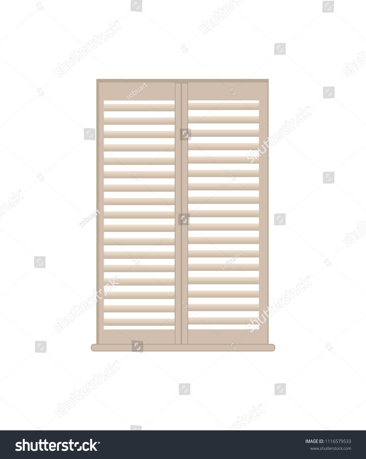 Stylish Wooden Lattice Shutters Windowsill Interior Stock