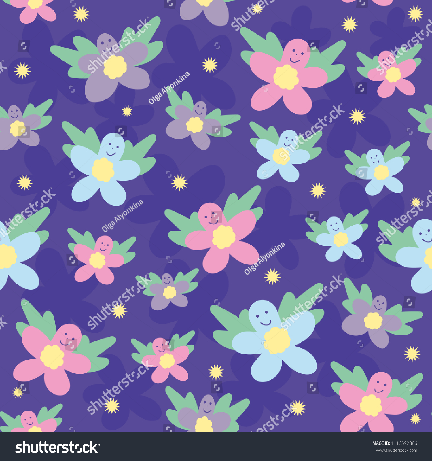 Abstract Pattern Butterfly Flowers On Purple Stock Vector Royalty