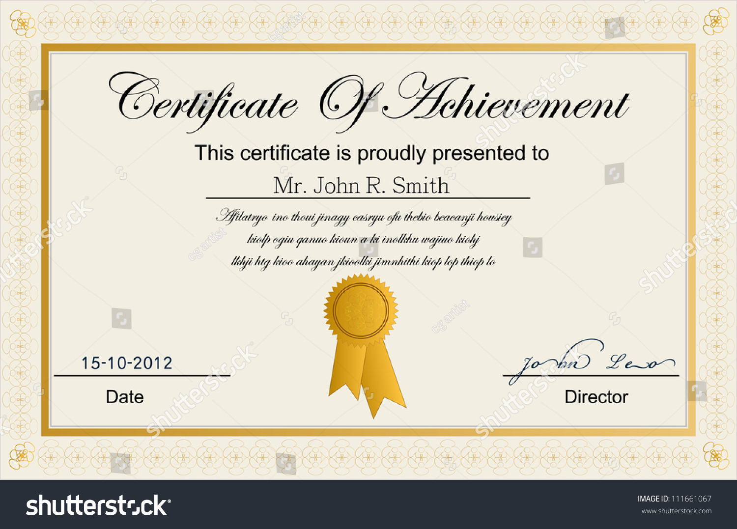 Certificate Of Achievement. Stock Vector 111661067 ...