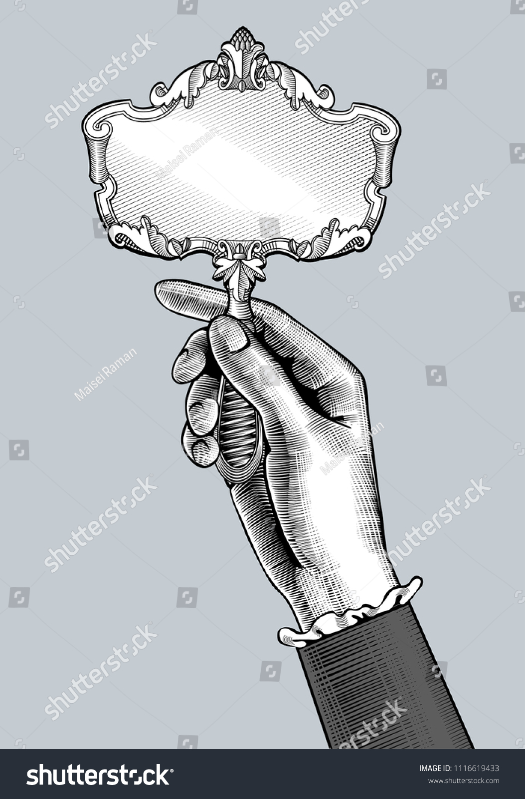 vintage mirror drawing. Woman\u0027s Hand With A Retro Mirror. Vintage Engraving Stylized Drawing. Vector Illustration Mirror Drawing