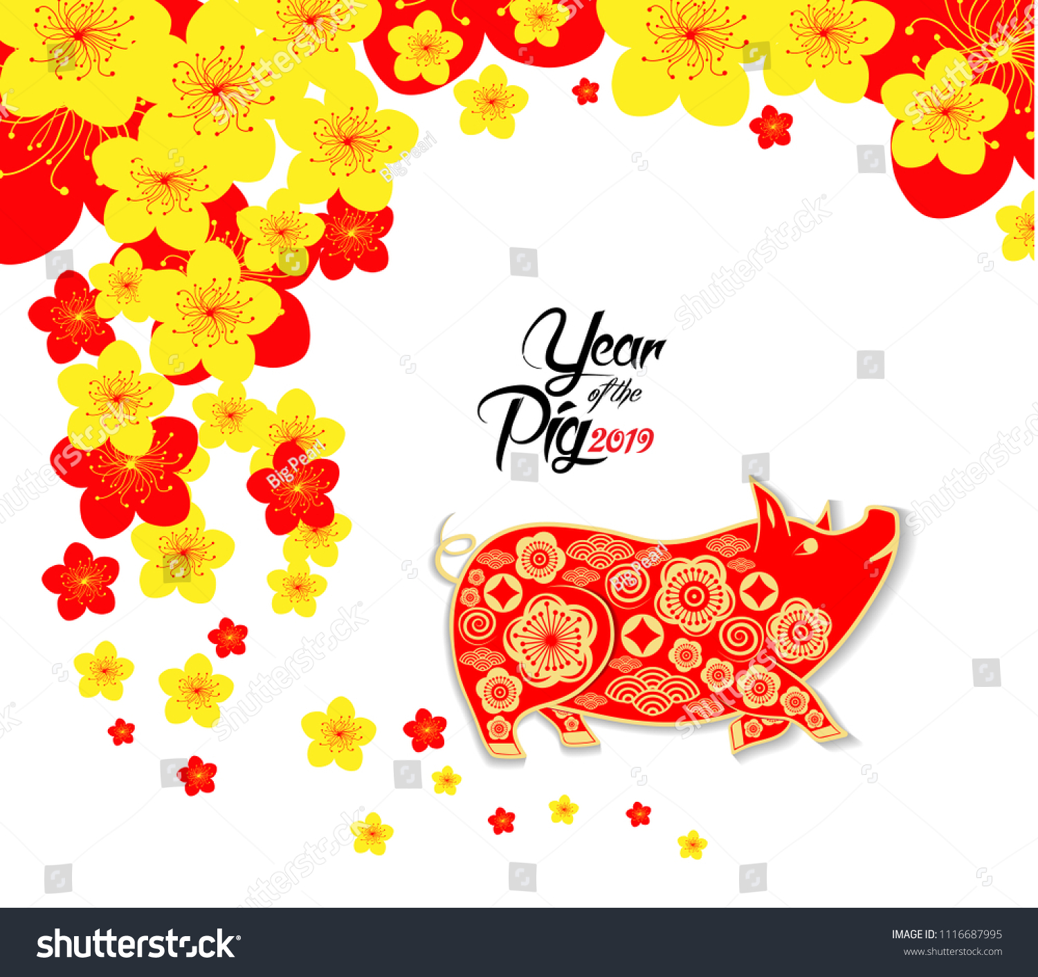 Happy Chinese New Year 2019 Zodiac Sign With Gold Paper