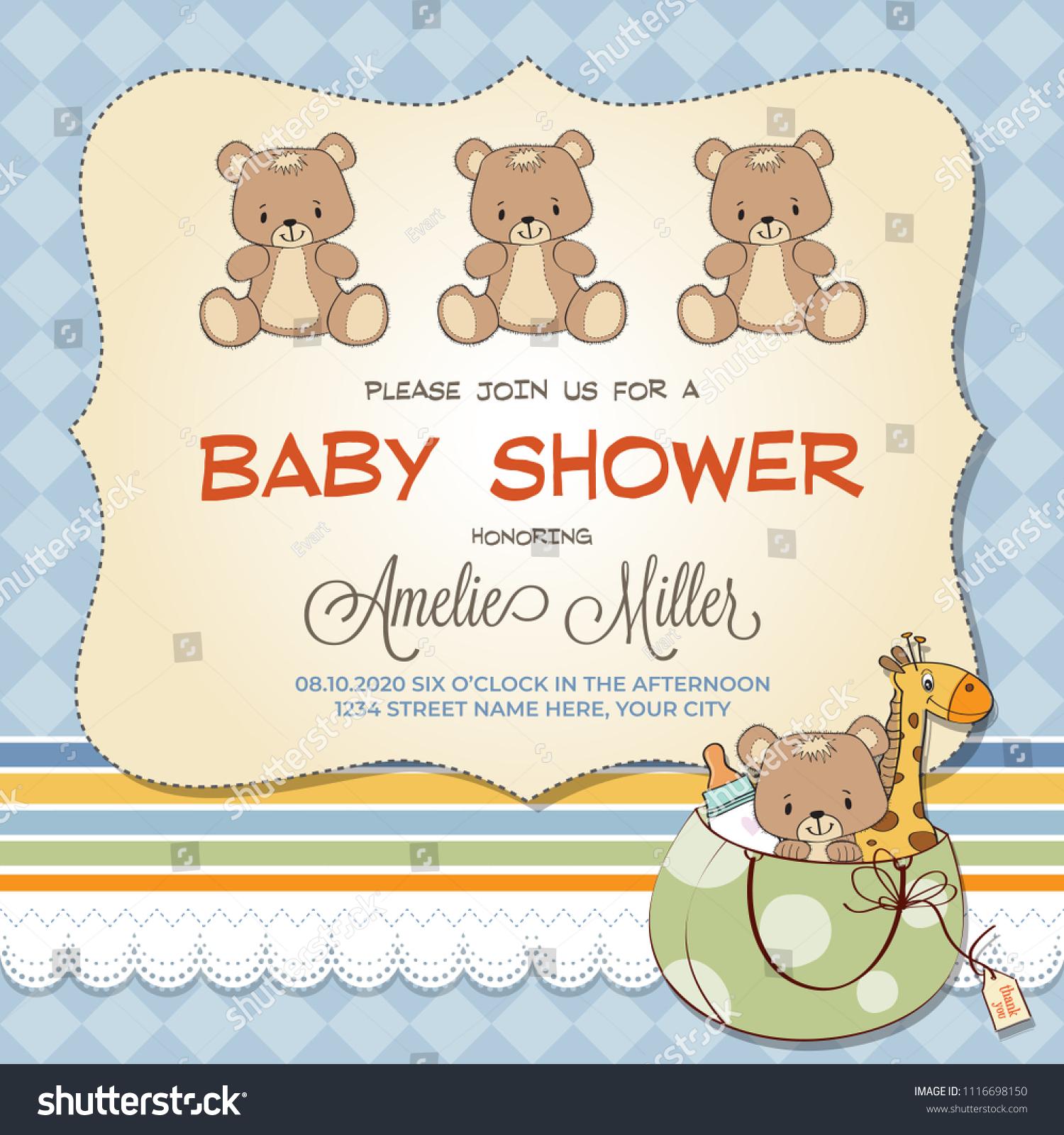 teddy bear invitations for baby shower