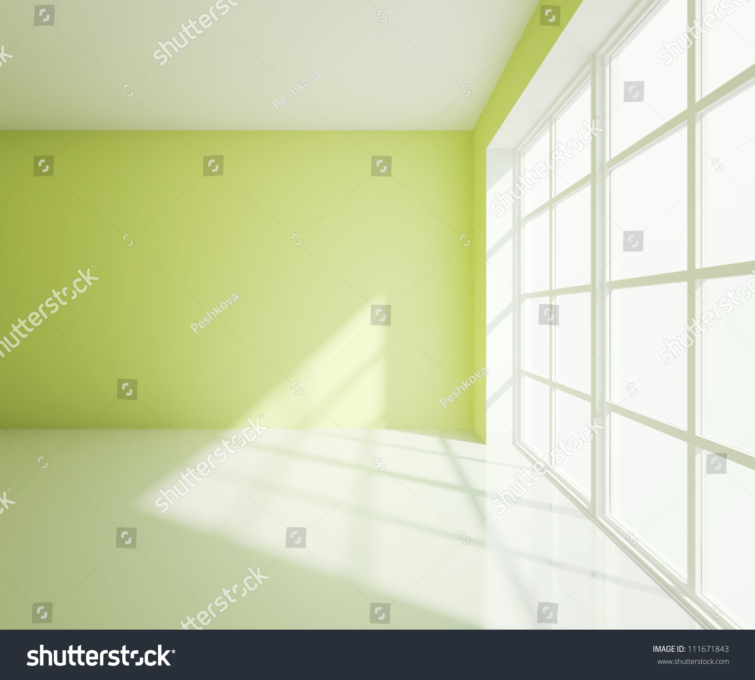 Empty Light Green Room With White Window Stock Photo