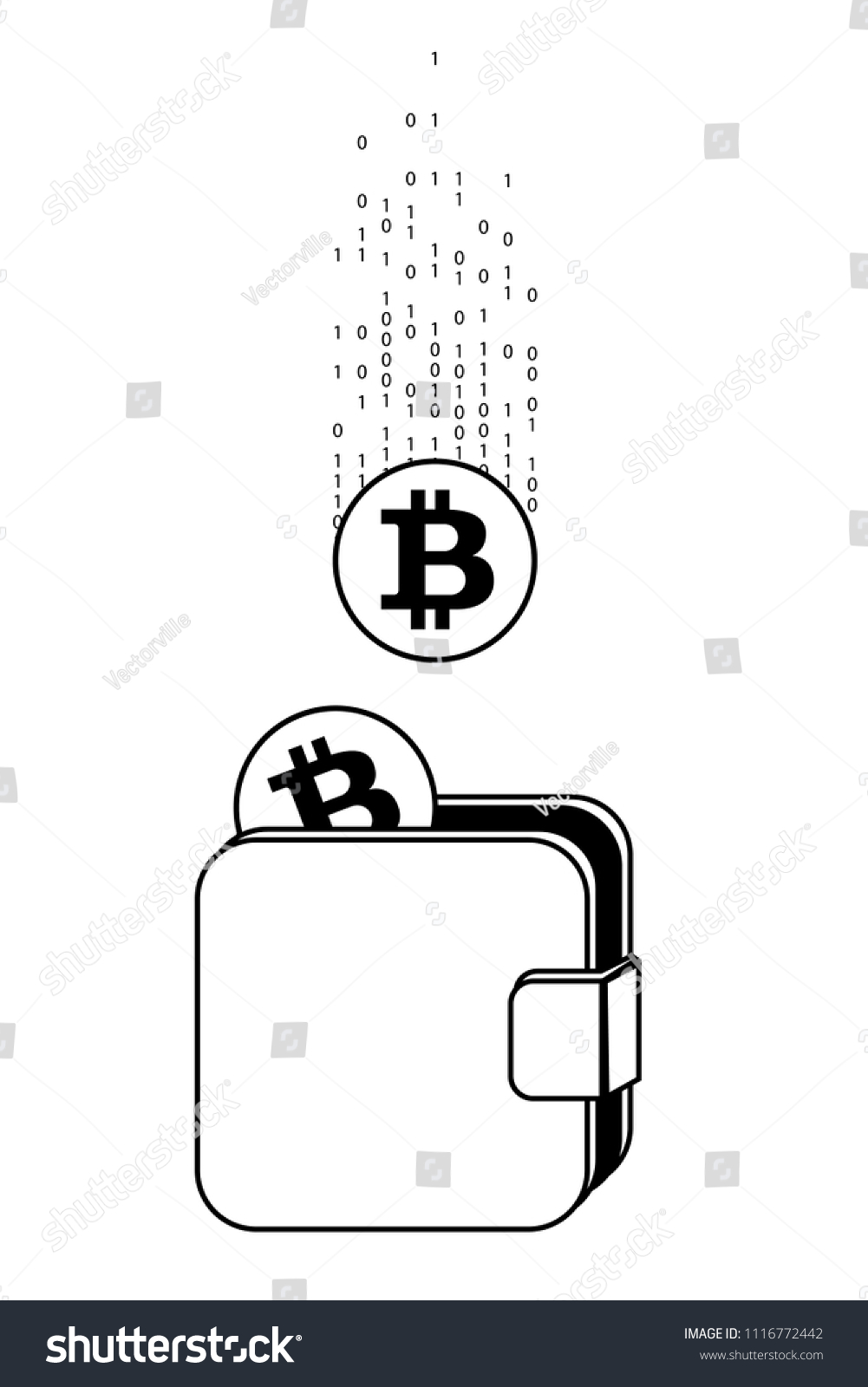 Crypto Wallet Earnings Money Bitcoin Currency Stock Vector