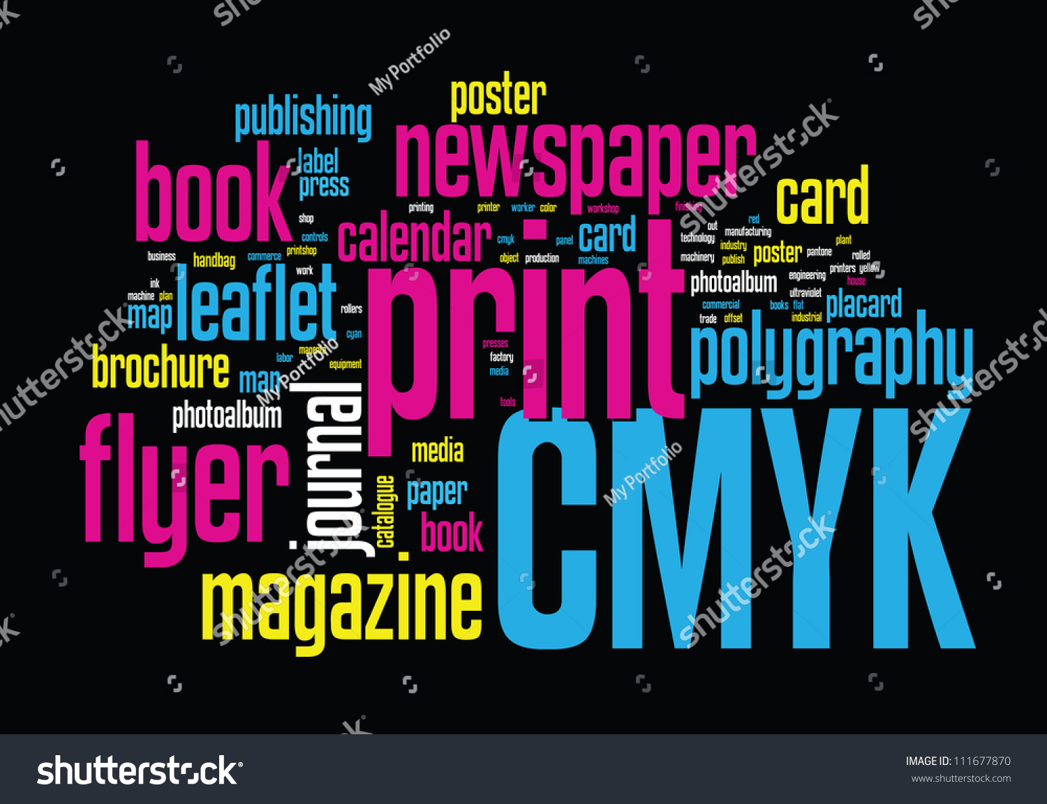 printing word cloud vector concept illustration stock vector 111677870