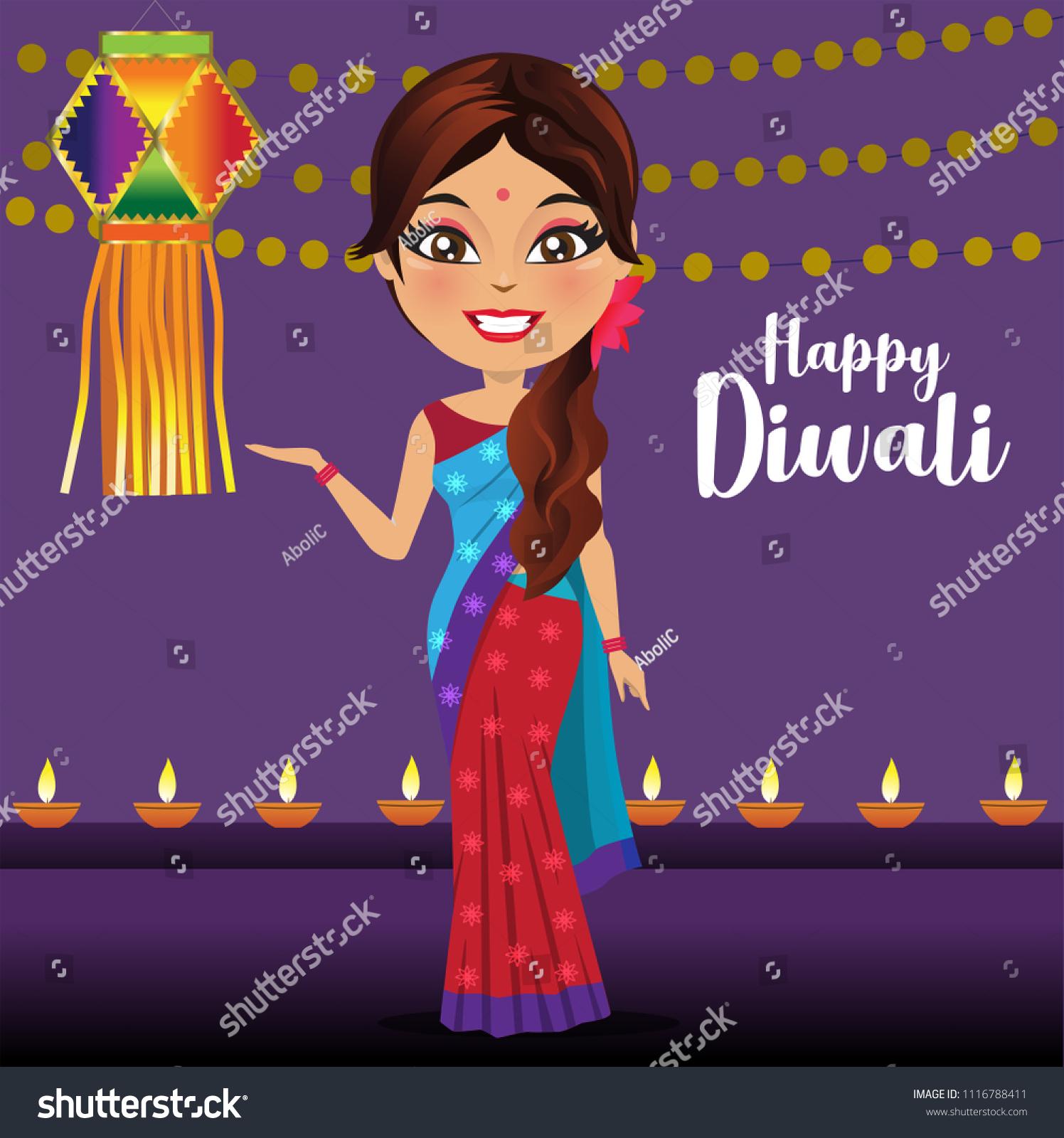 Indian Woman Giving Diwali Greetings Standing Stock Vector Royalty
