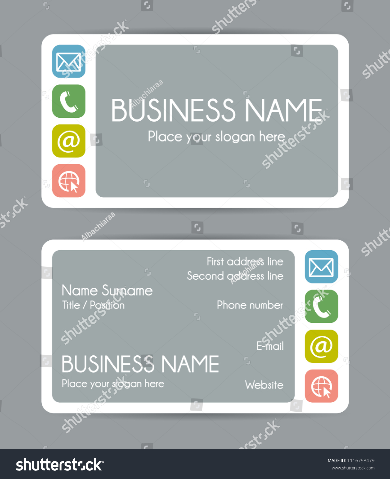 Rounded Corner Business Card Template Vector Stock Photo (Photo ...