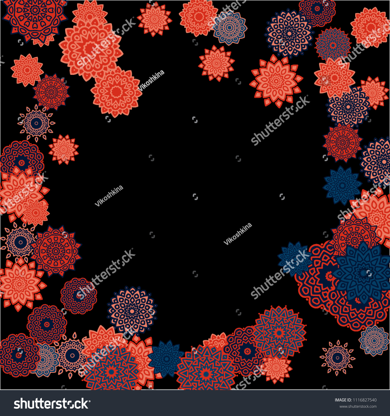Ethnic Background Simple Mandalas Round Orient Stock Vector (Royalty