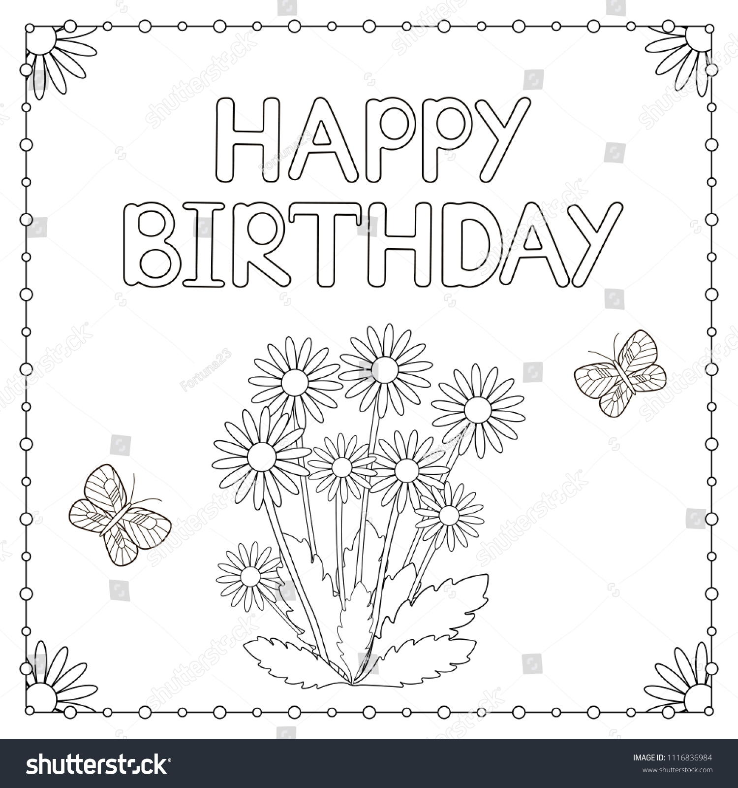 Happy Birthday Card Flowers Butterflies Coloring Stock Vector ...