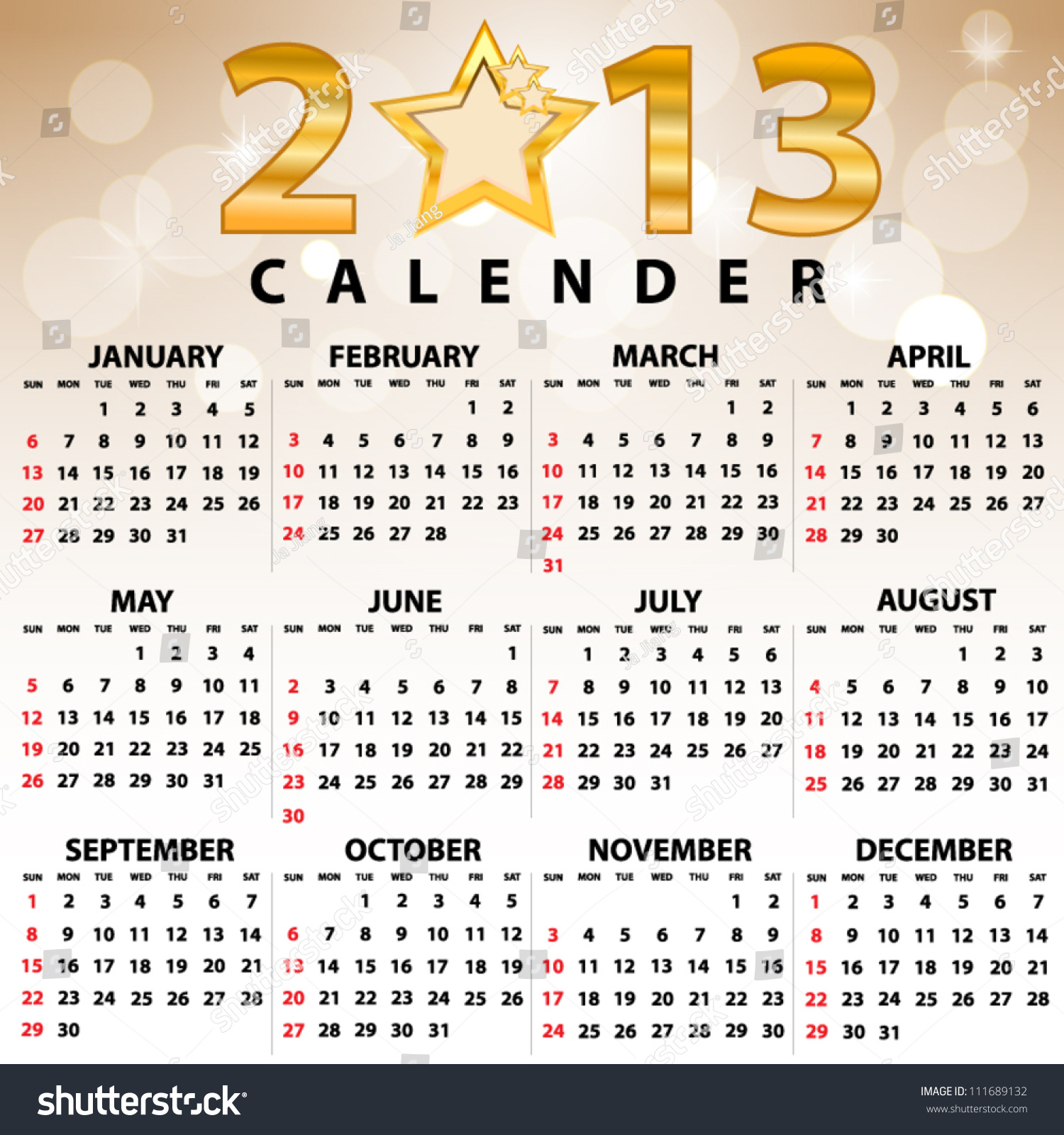 Calendar Month Illustration : Calendar full year months stock vector