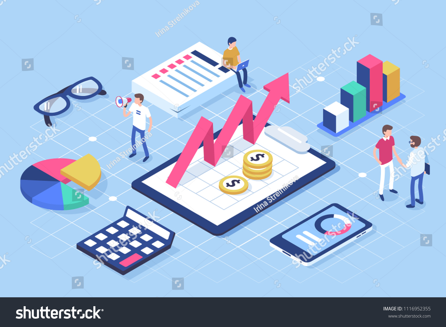 Financial administration concept with characters. Can use for web banner, infographics, hero images. Flat isometric vector illustration isolated on white background.