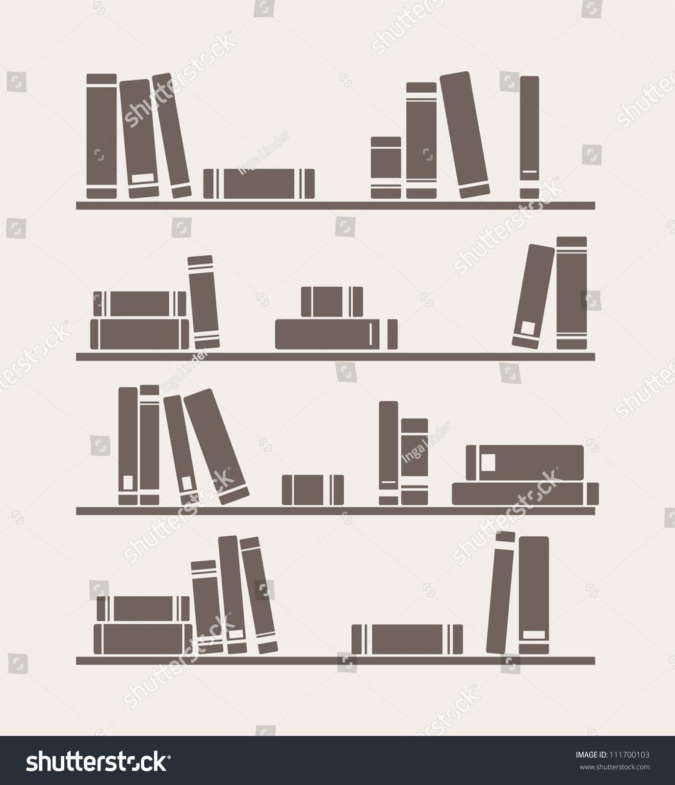 Books On Shelf Vector Retro Illustration Stock Vector 111700103