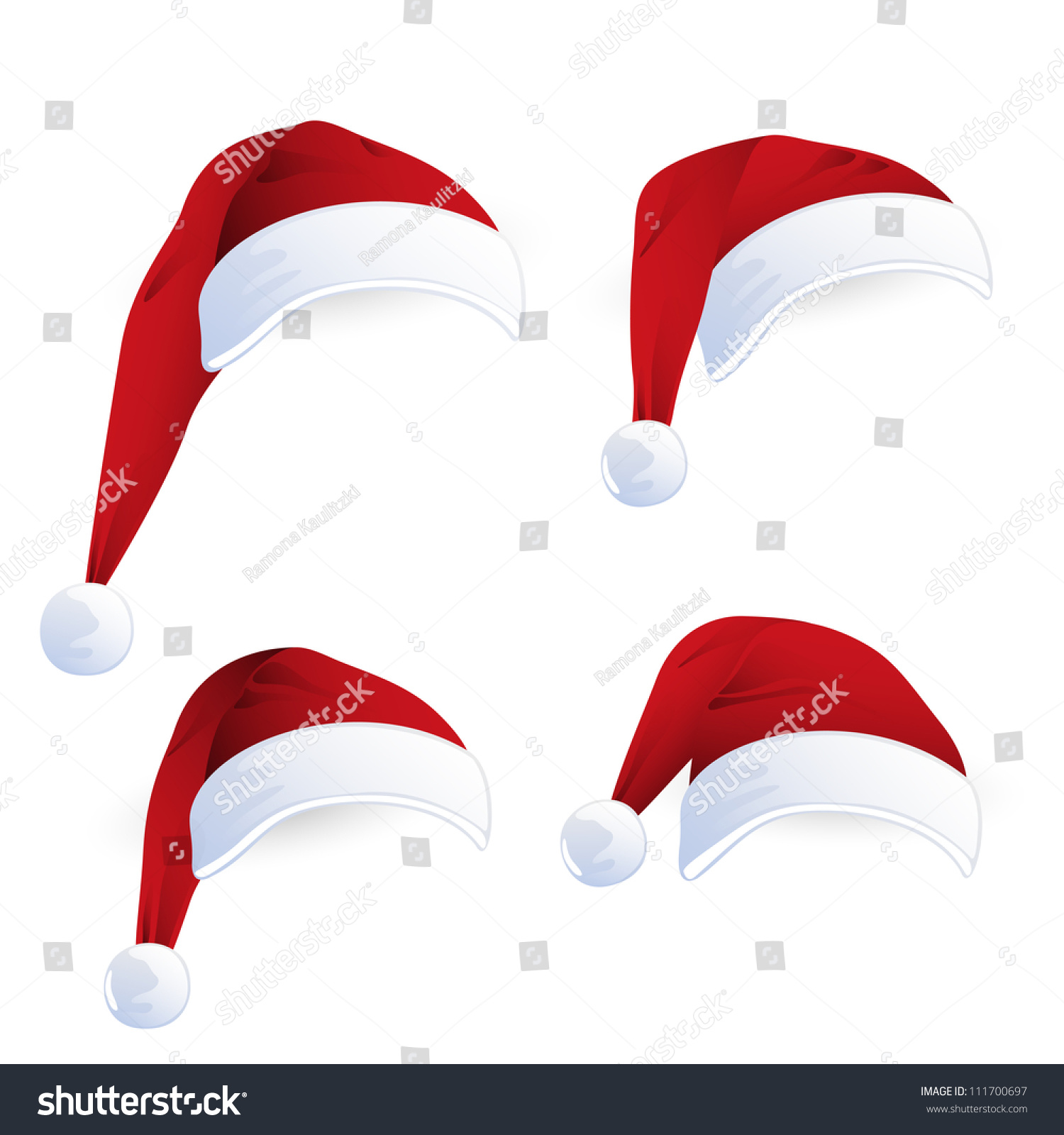 Vector illustration red santa hats stock