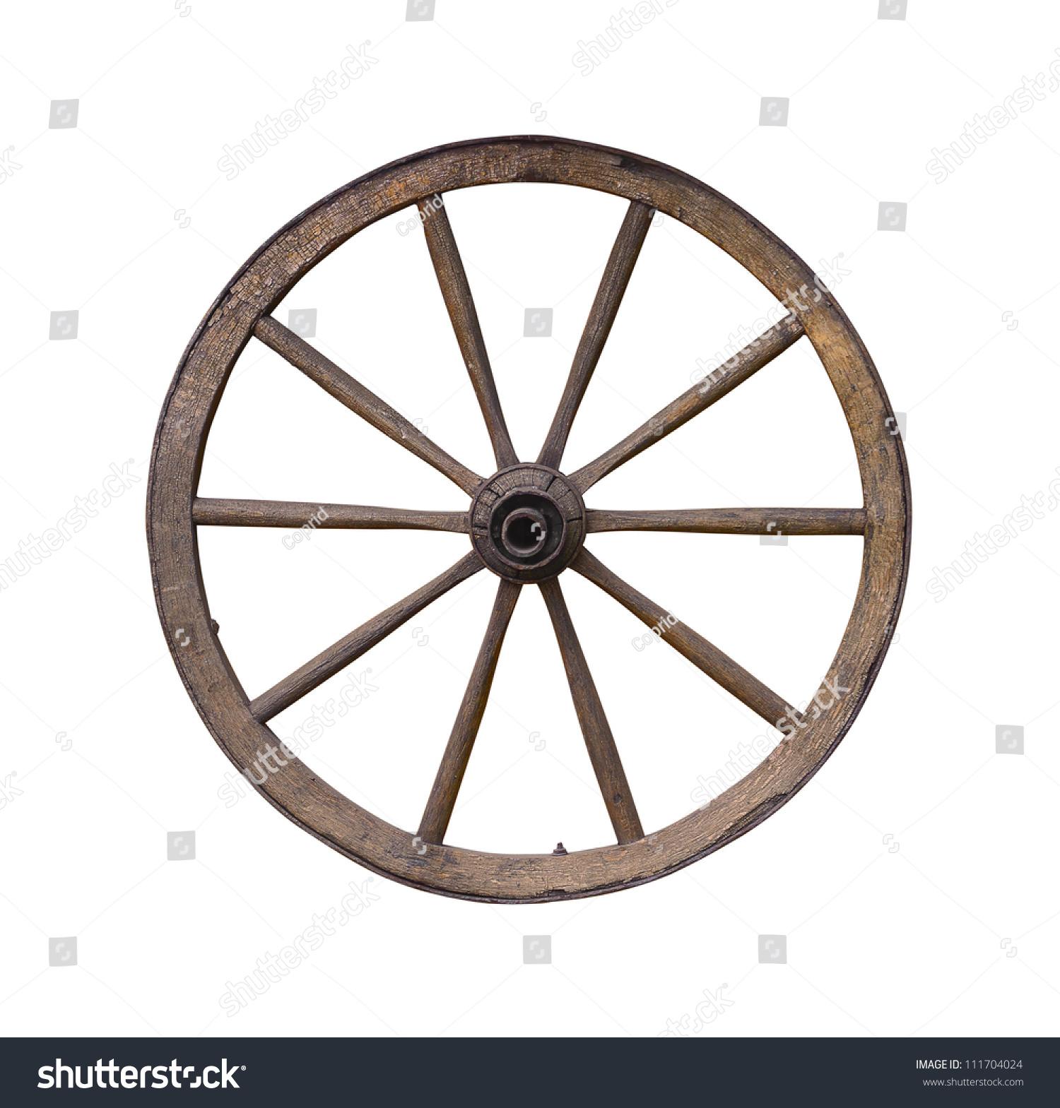 Wooden Wagon Wheels ~ Old wooden wagon wheel on white stock photo