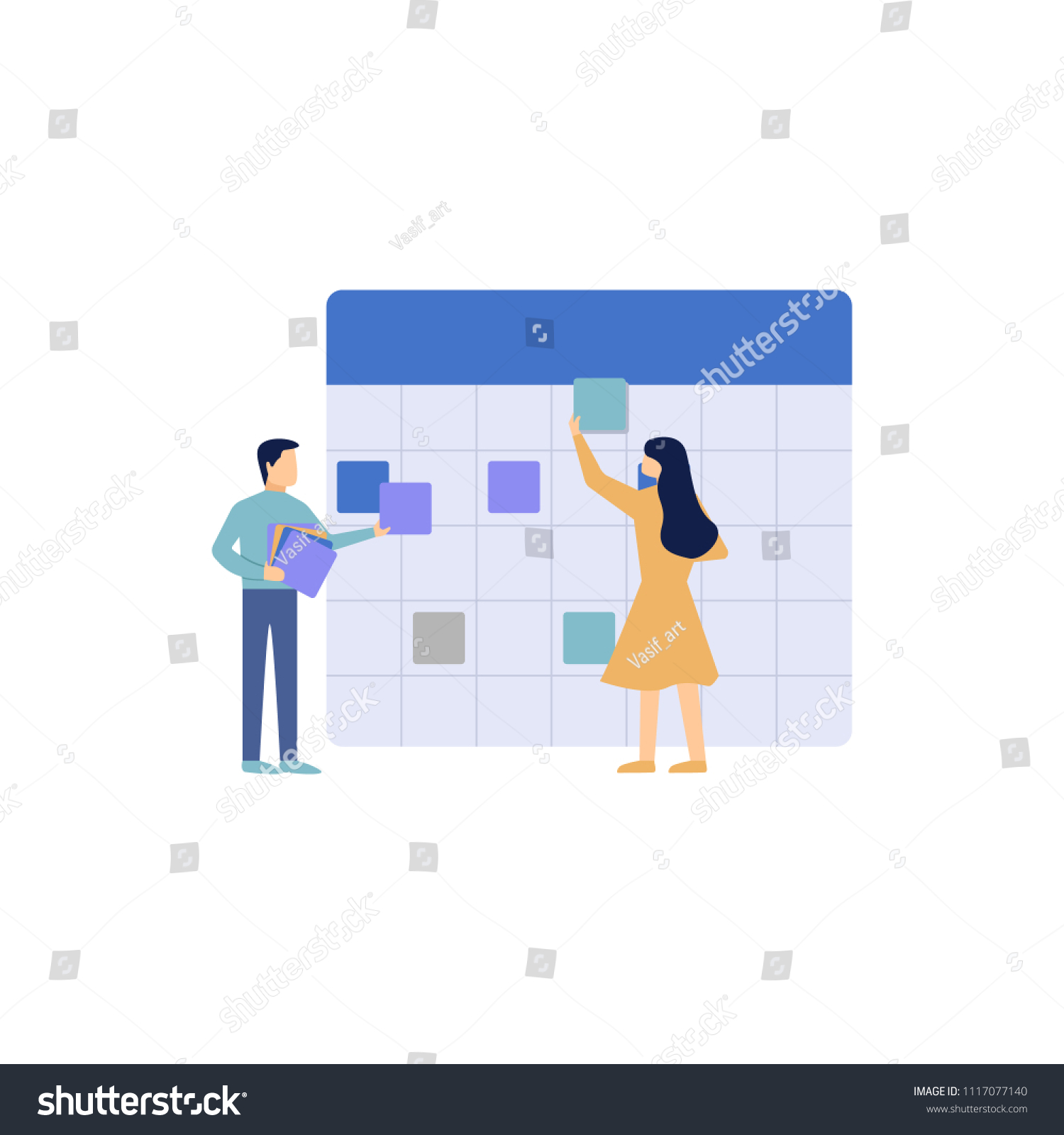 vector illustration little people characters make stock vector