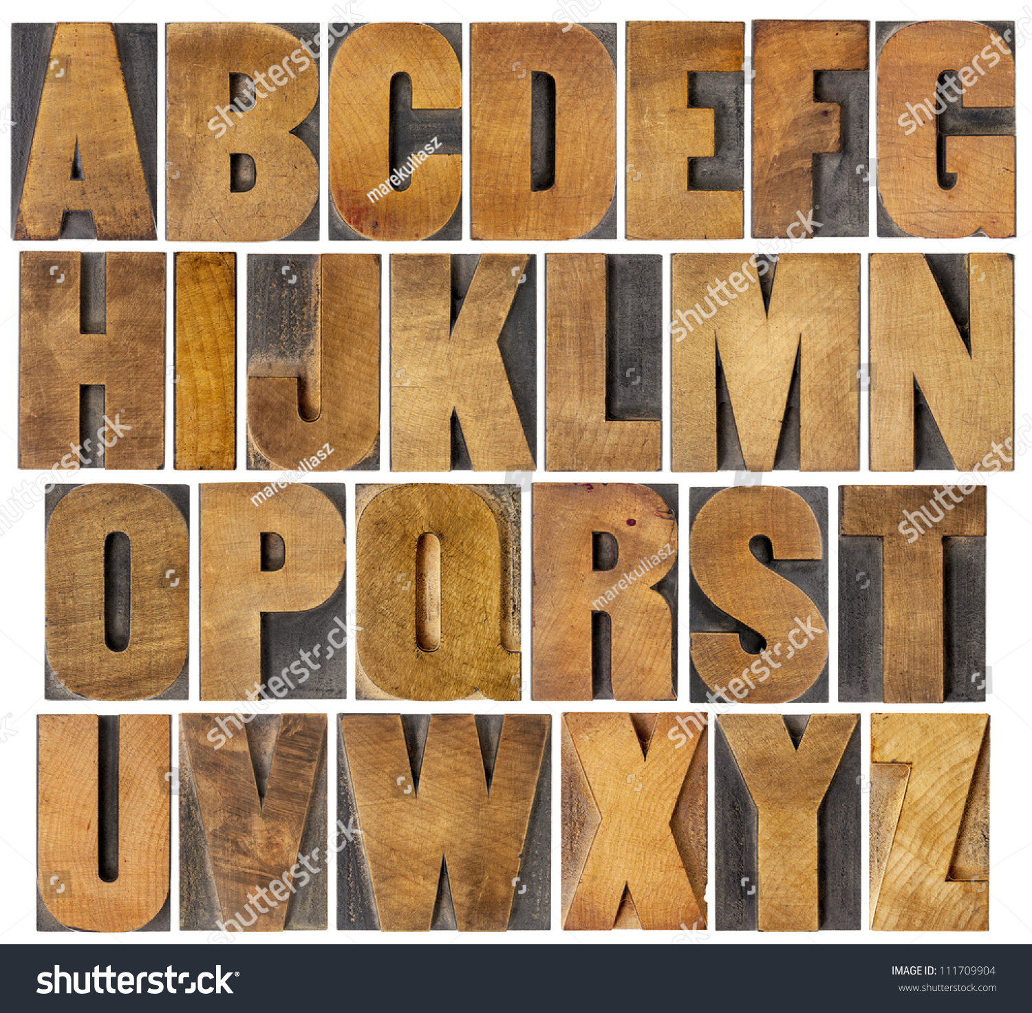 plete English Alphabet Collage 26 Isolated Stock Royalty