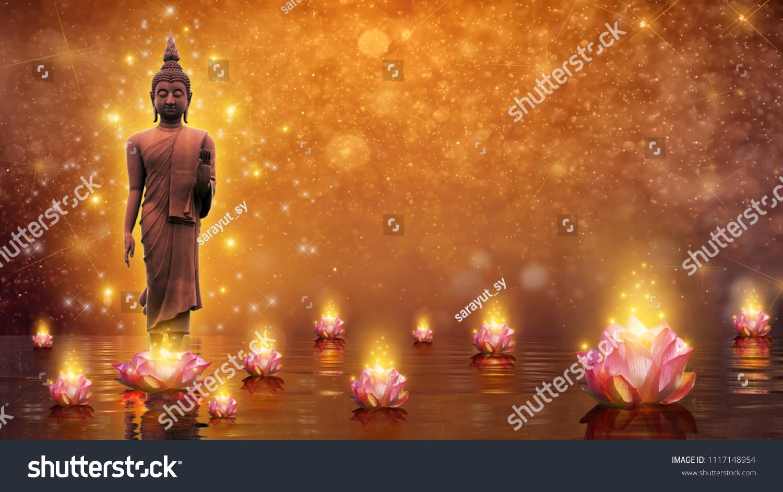 Buddha statue water lotus buddha standing stock illustration buddha statue water lotus buddha standing on lotus flower on orange background izmirmasajfo