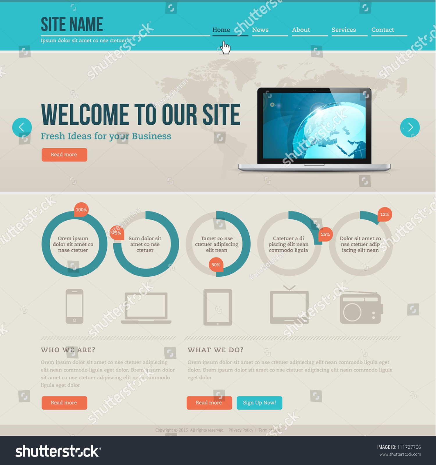 Vintage Website Template Stock Vector Shutterstock - Privacy page template