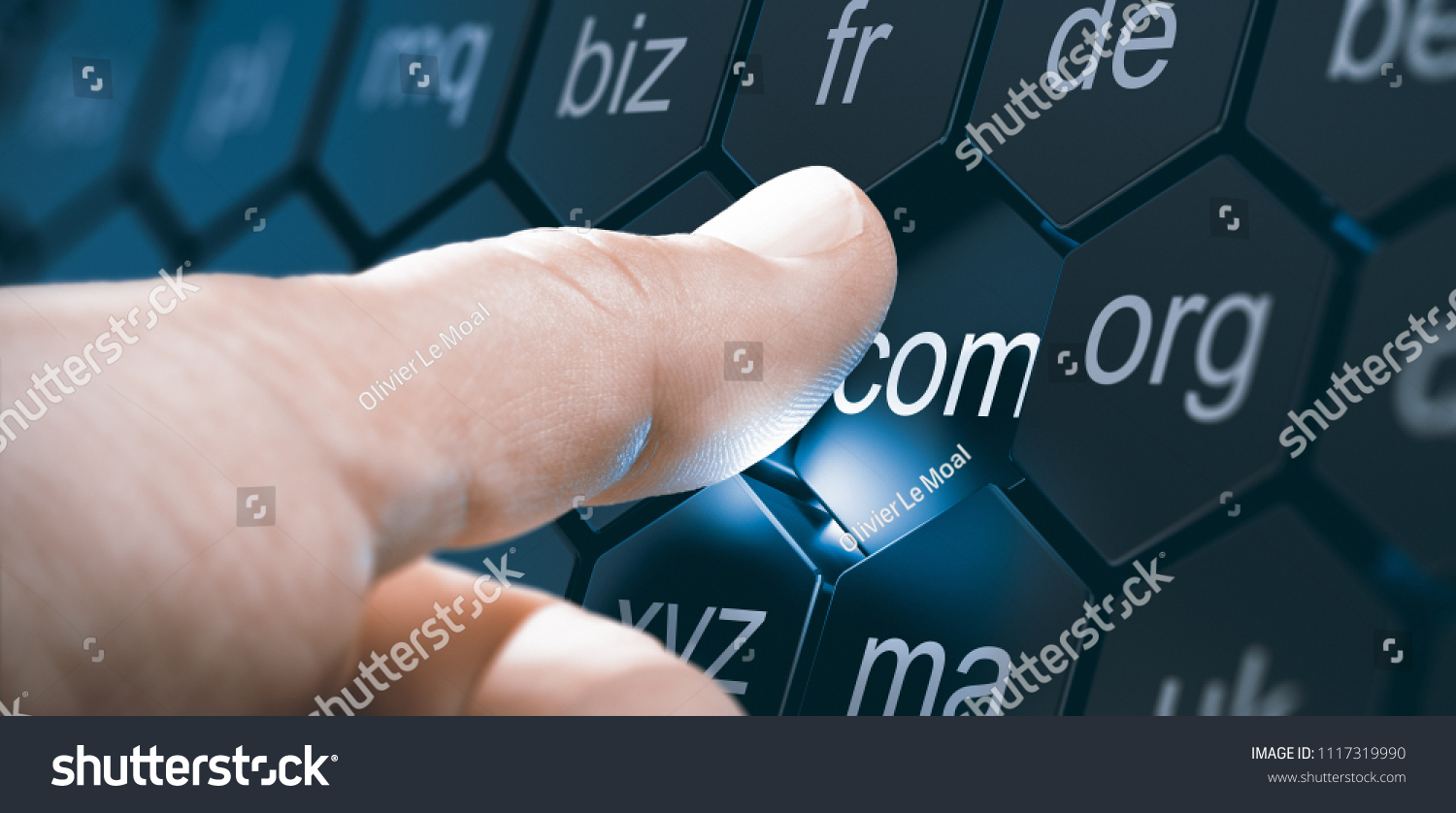Man selecting a domain extention by pressing an hexagonal button. Composite image between a hand photography and a 3D background. #1117319990