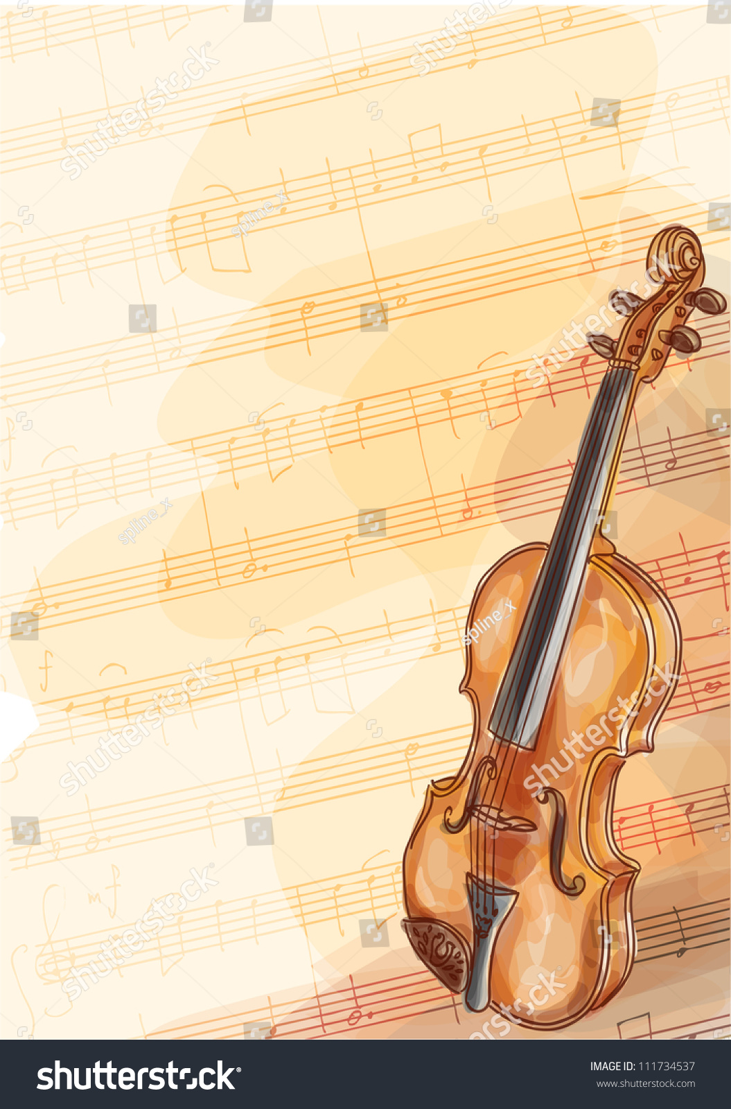 Violin On Music Background Handmade Notes Stock Vector ...
