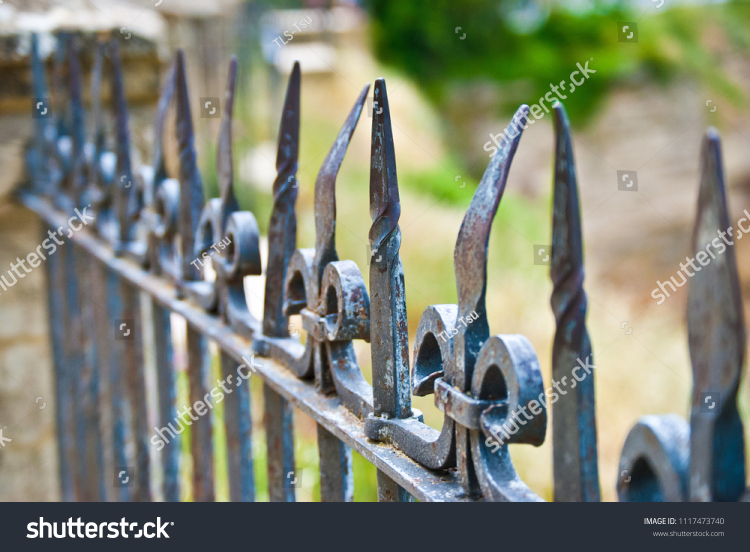 Iron Fence Bent Age Use Rhonda Stock Photo (Edit Now