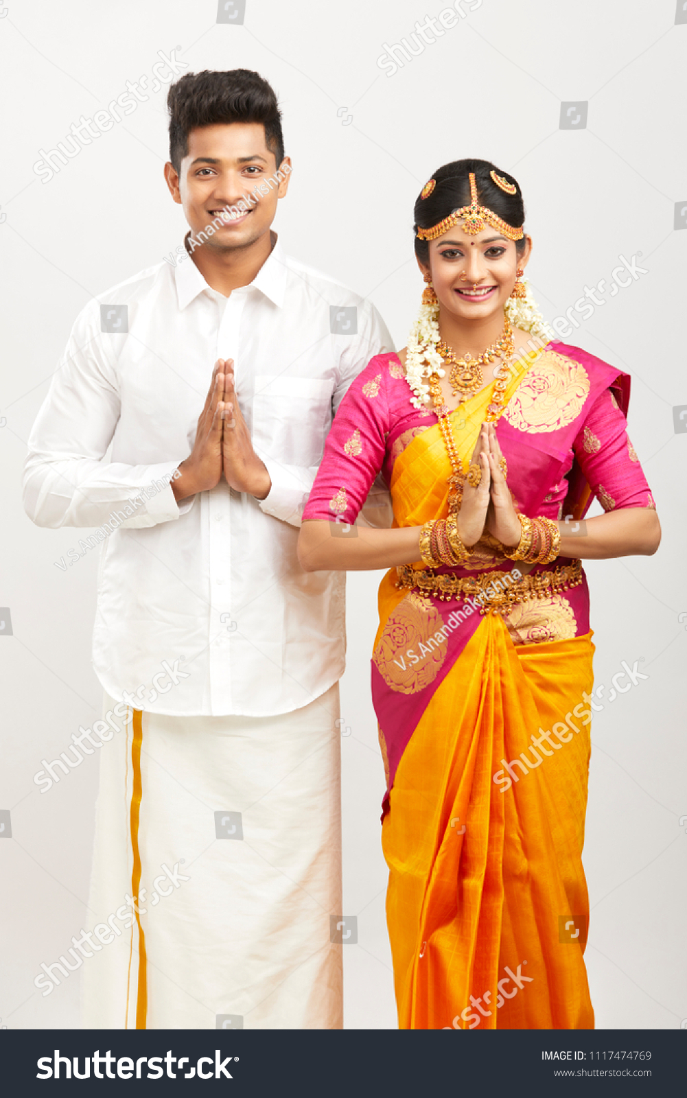Beautiful Happy South Indian Couple Traditional Stock Photo Edit