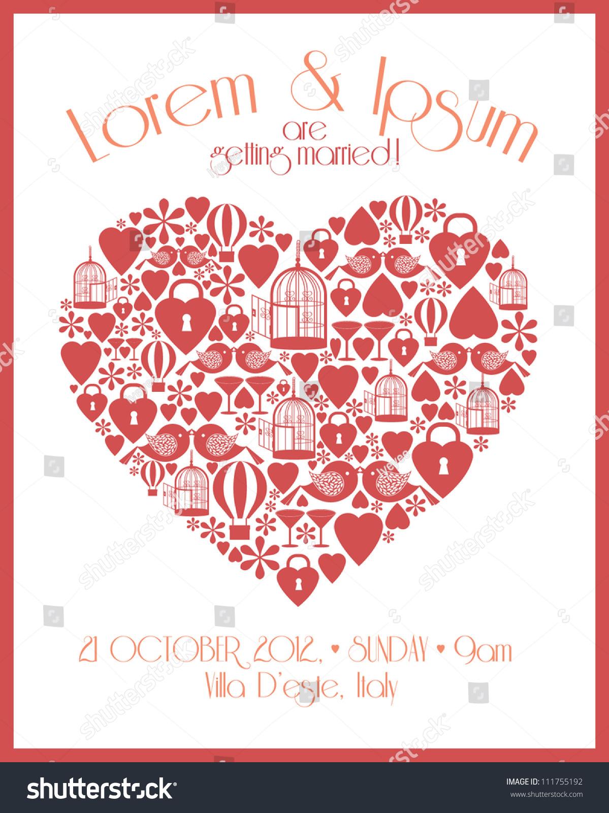 Heart Wedding Invitation Template Stock Vector (Royalty Free ...