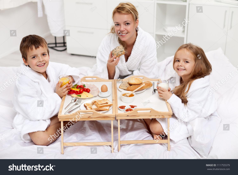 Happy Morning Woman Kids Having Light Stock Photo Edit Now 111755579