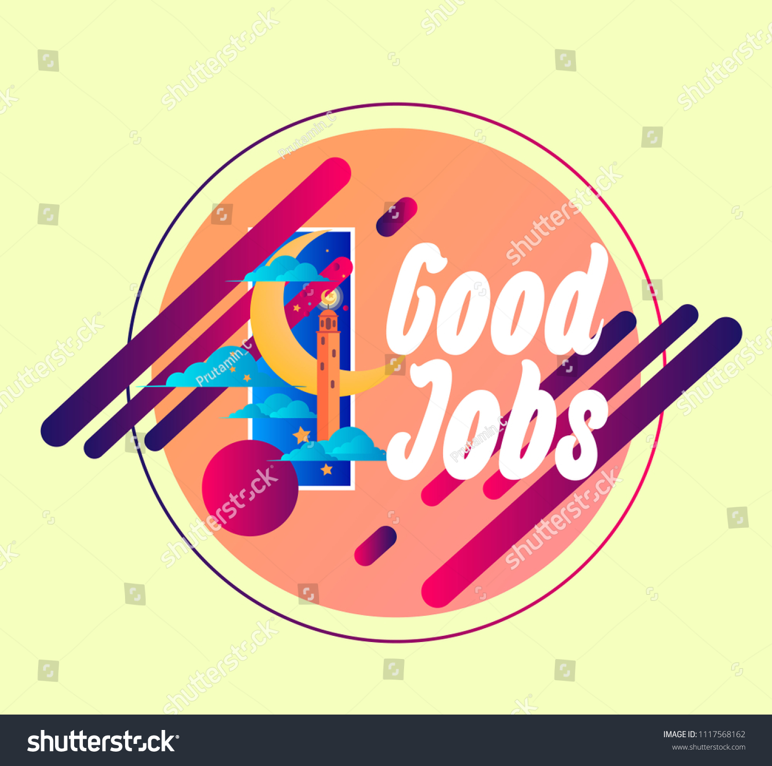 Good jobs vector beautiful greeting card stock vector 1117568162 good jobs vector beautiful greeting card or label with crescent moon theme m4hsunfo