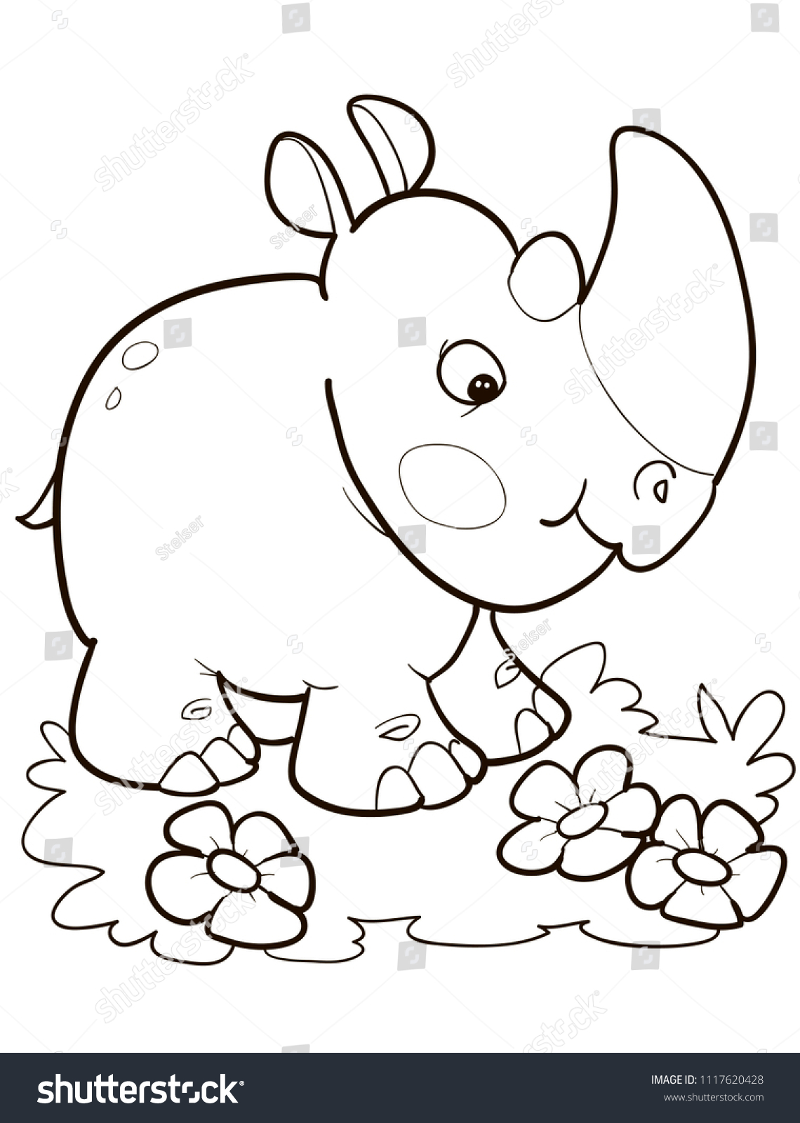 Coloring Page Outline Cartoon Cute Rhino Stock Vector 1117620428 ...