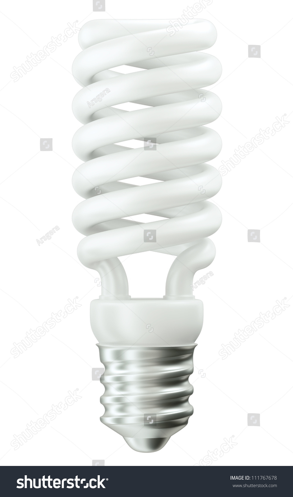 Fluorescent Energy Efficient Light Bulb Isolated Over White Stock Photo 111767678 Shutterstock