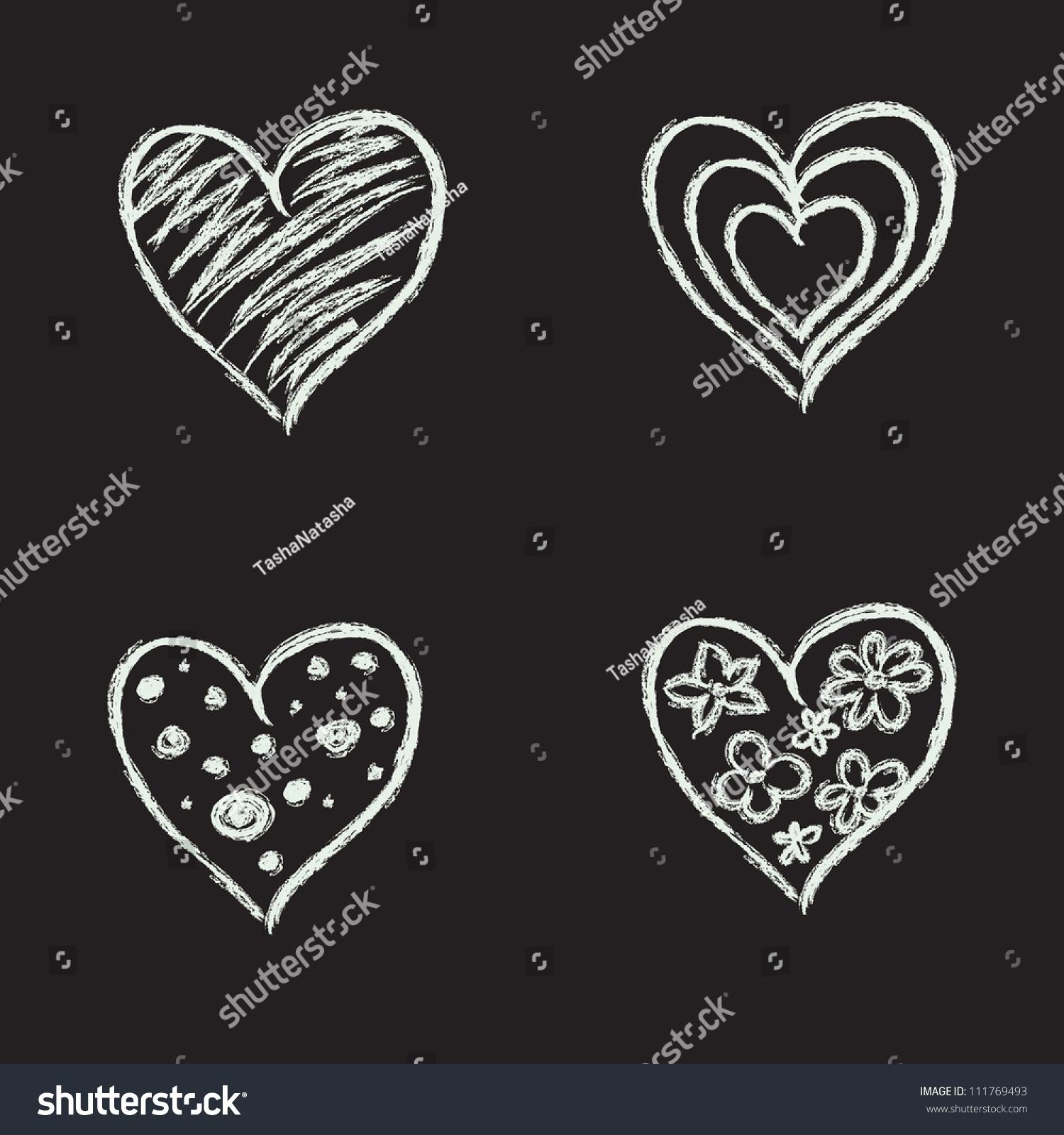 Set Hand Drawn Hearts On Chalkboard Stock Vector 111769493 ...