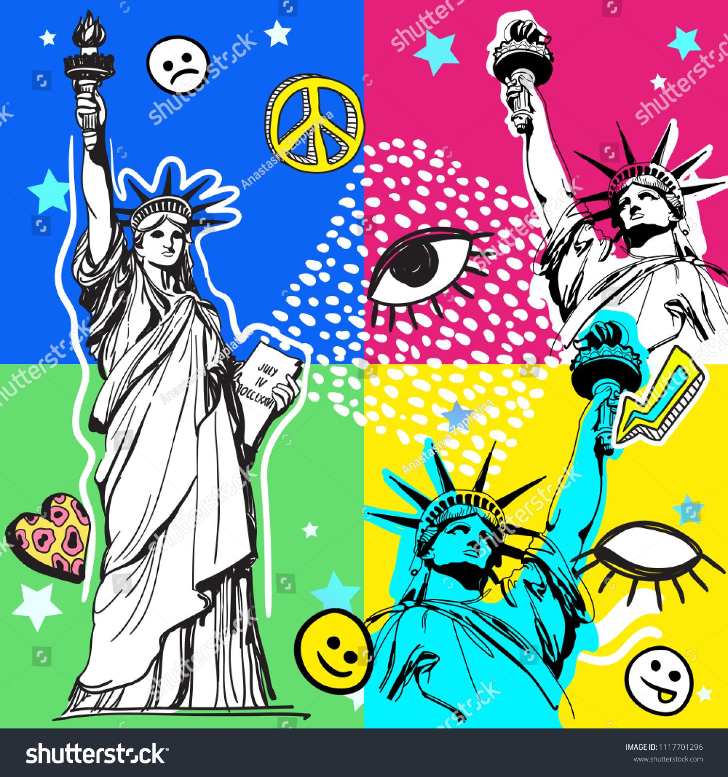 Retro Pop Art Style Colorful Illustration 80S Fashion, 80S Print Memphis