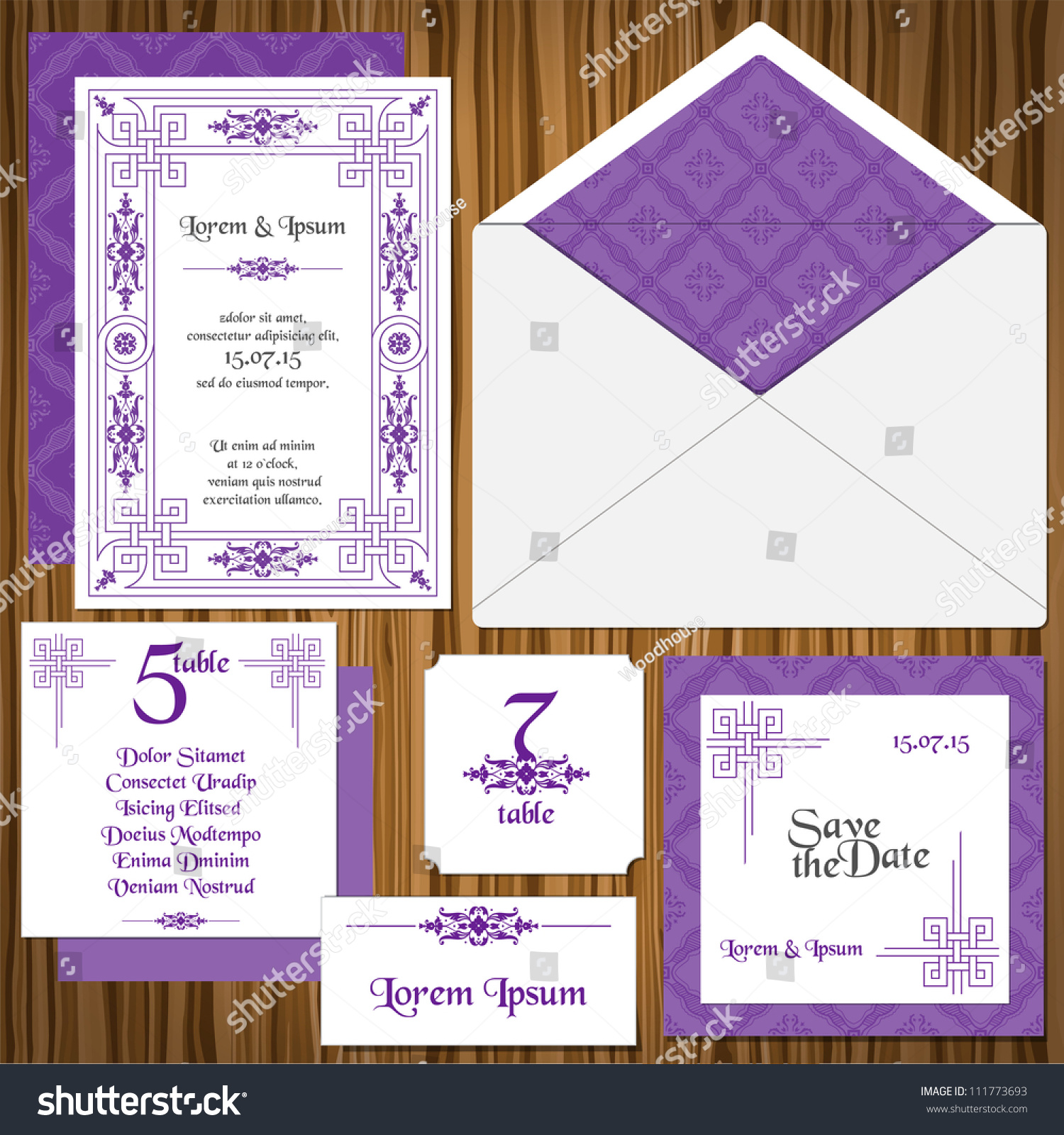 Wedding Invitation Card Set Rsvp Vector Vector 111773693 – Invitation Card Rsvp