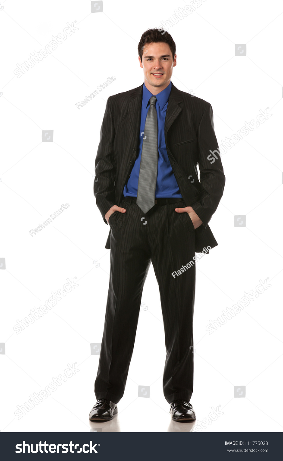 young businessman standing smiling full body の写真素材 今すぐ編集
