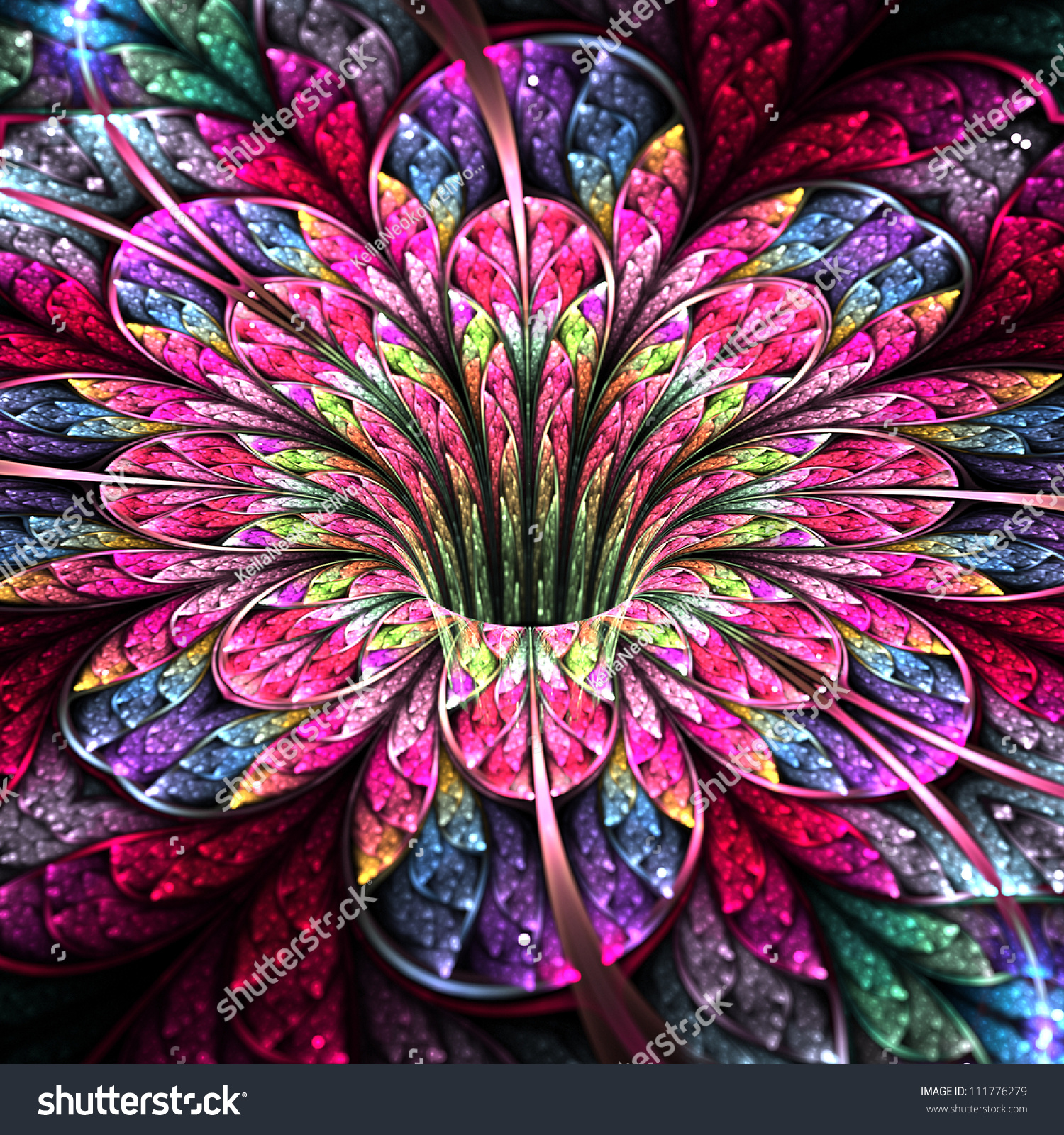 What Is Art And Design : Colorful bright flower modern fractal art stock photo