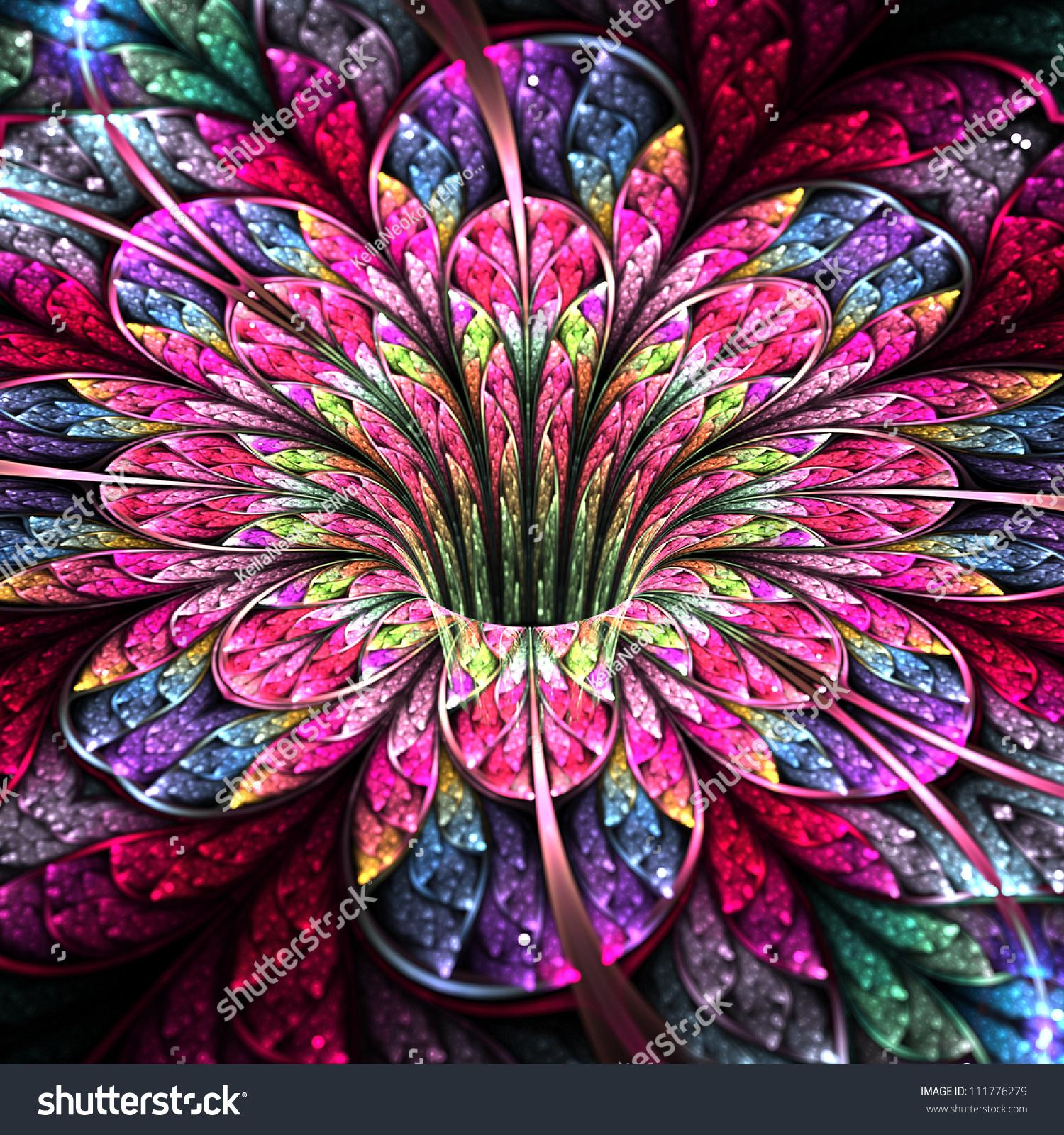 Fractal Black Flower Free Stock Photo: Colorful And Bright Flower, Modern Fractal Art Design