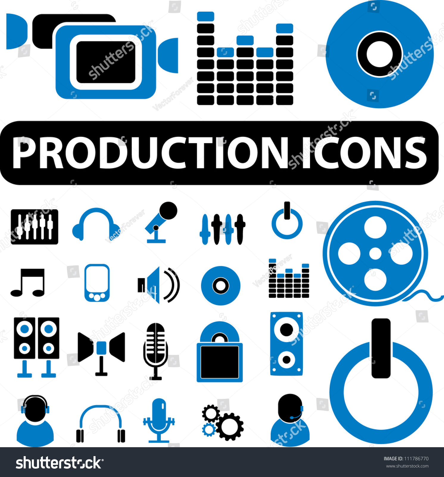 production media business icons set vector stock vector 111786770