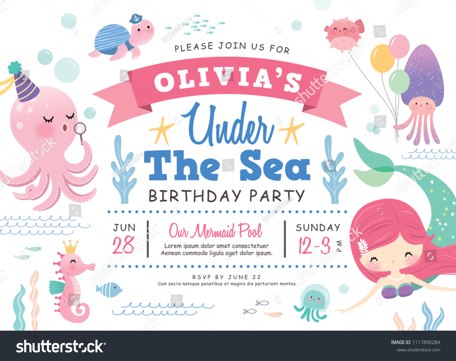 Kids Birthday Party Under Sea Theme Stock Vector (Royalty Free ...